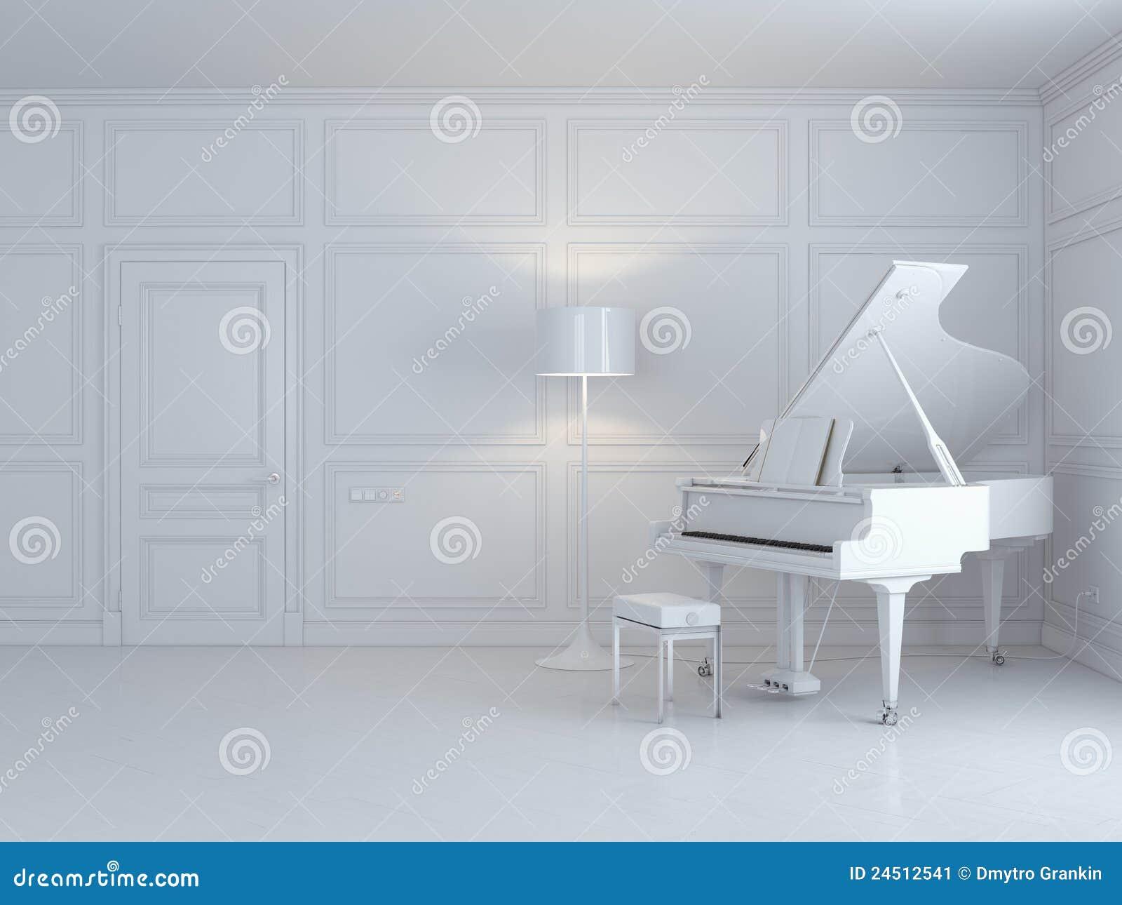 Piano bianco in un interiore bianco