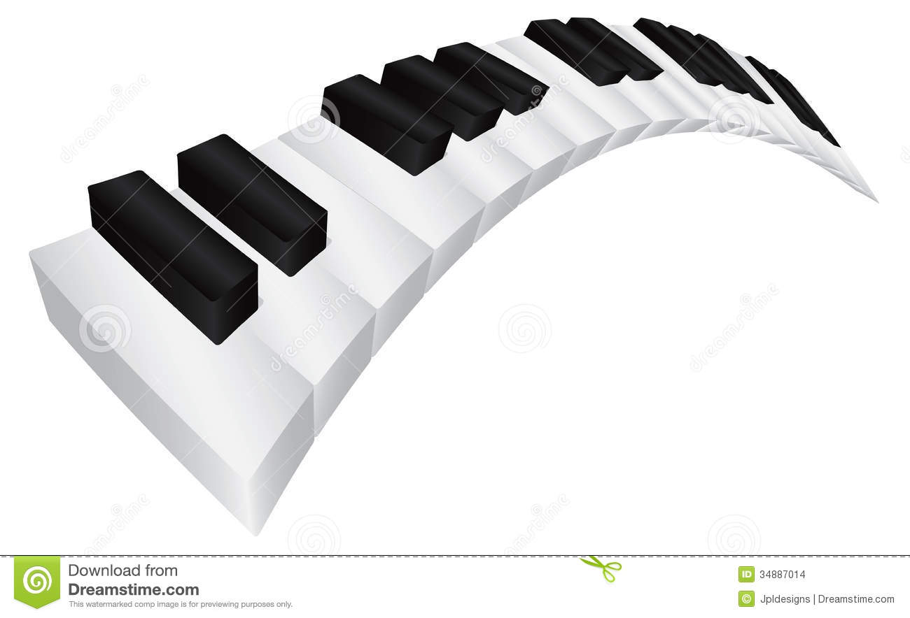 Piano Keyboard with Black and White Wavy Keys in 3D Isolated on White ...