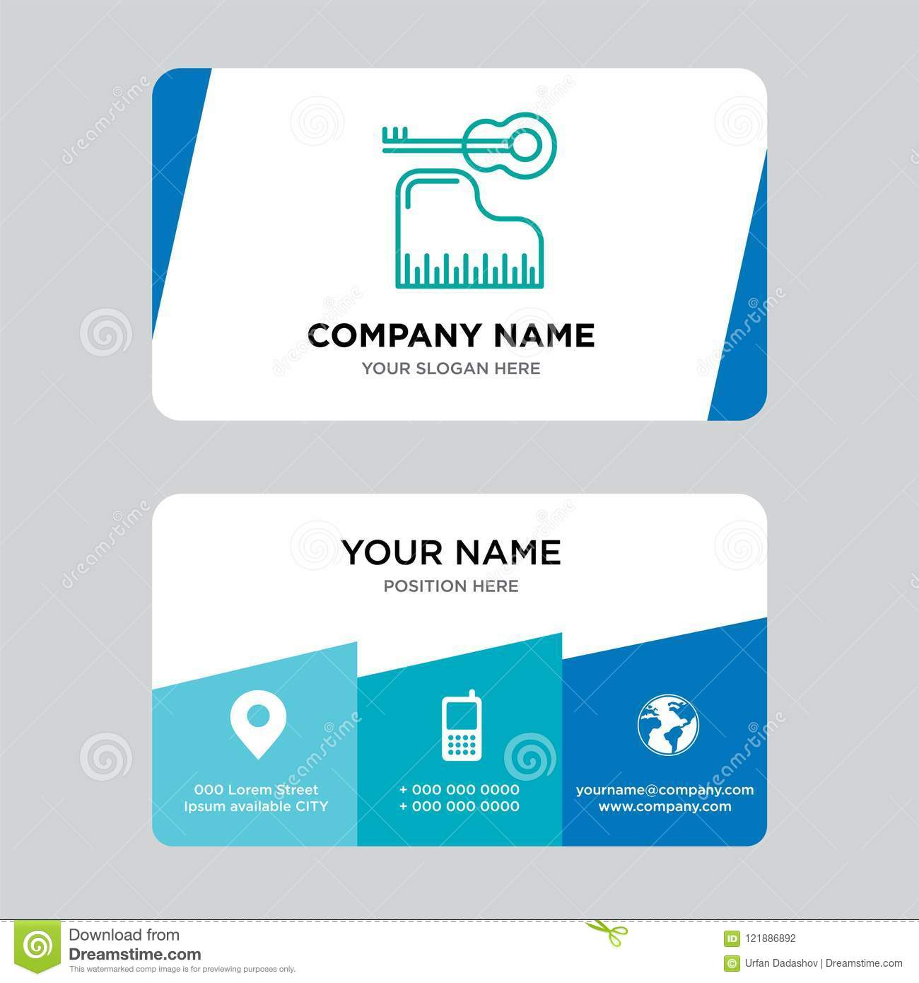Piano Business Card Design Template Visiting For Your Company