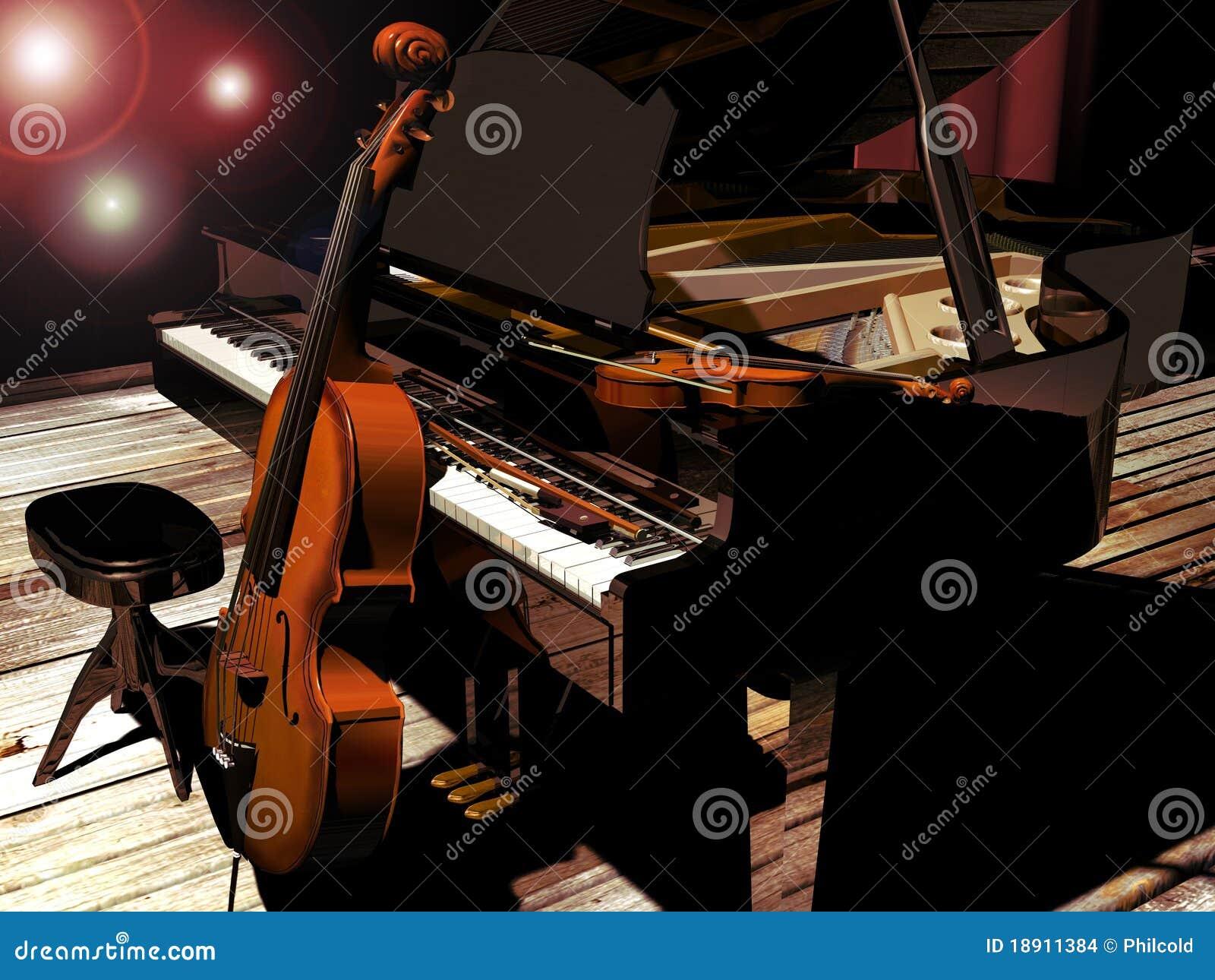 Piano Cello And Violin Stock Illustration Illustration