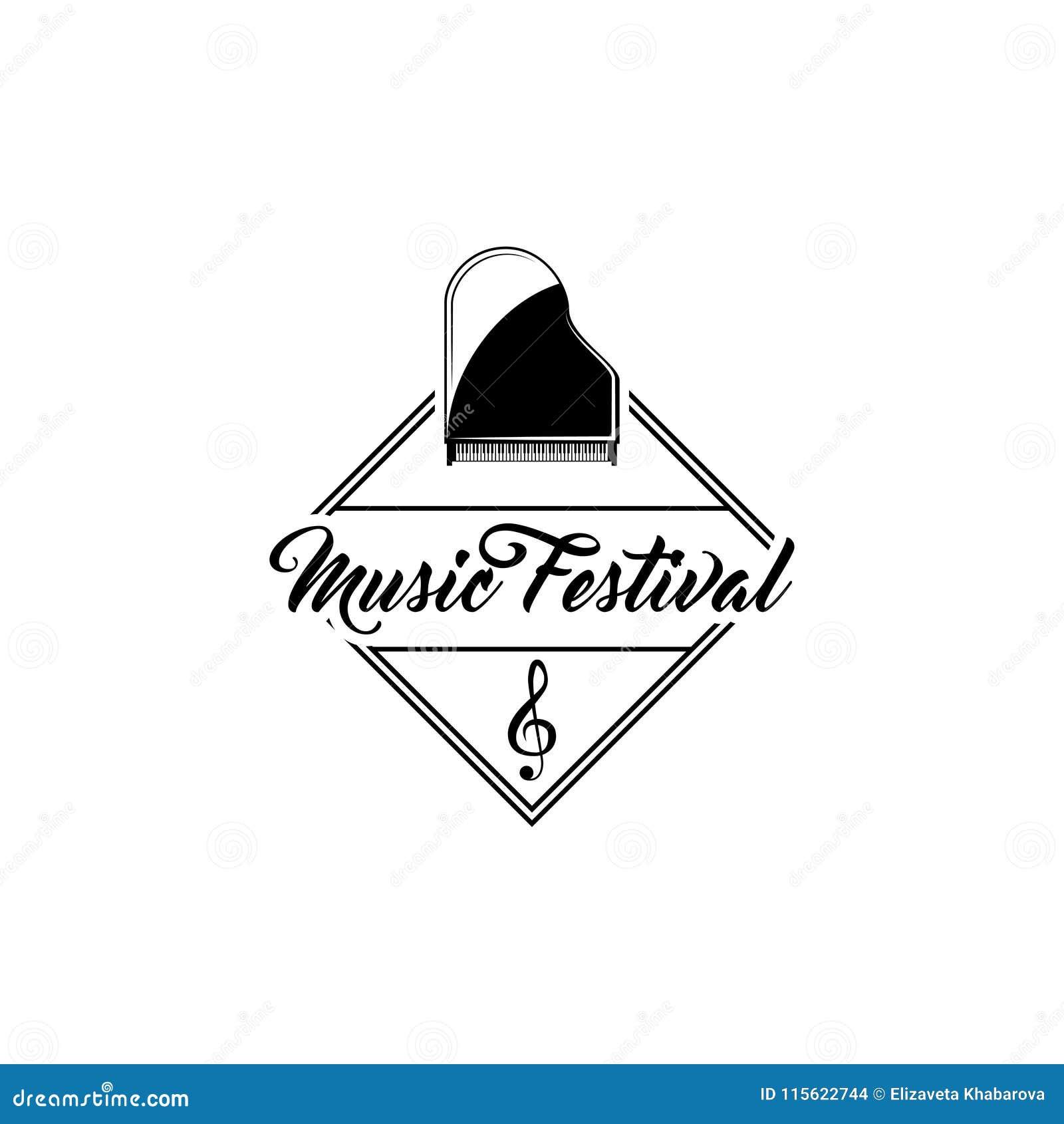 Piano de cola clásico Etiqueta del emblema del logotipo del festival de música Muestra de la clave de sol Instrumento musical Vec