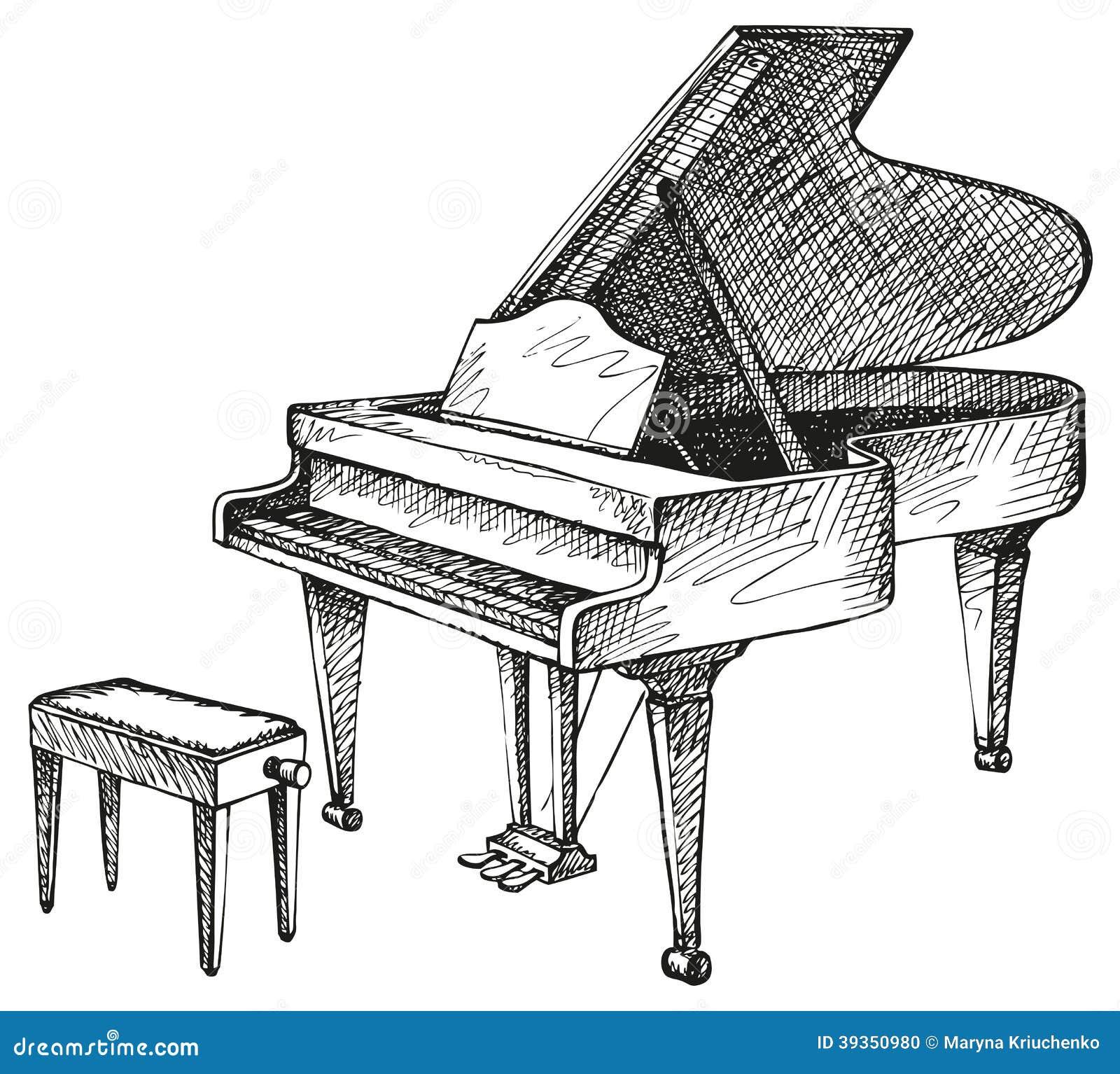 Piano de cola y taburete para el m sico ilustraci n del for Disegno del piano online