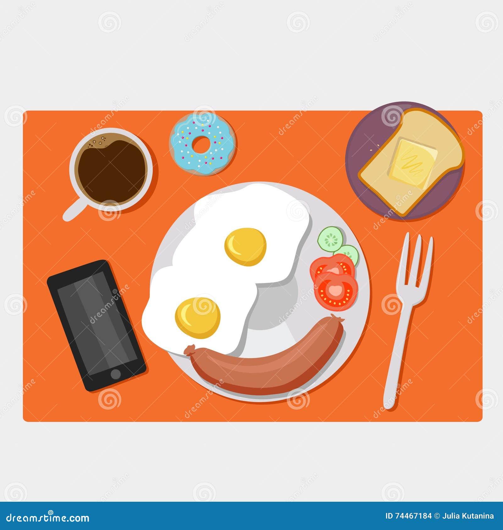Piano delle icone della prima colazione messo con tempo del caffè