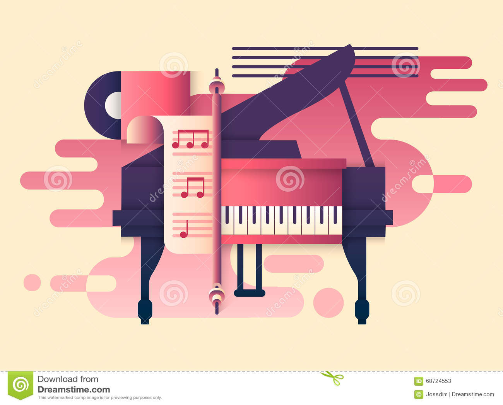 Download Piano Design Flat Stock Vector Illustration Of Instrumental