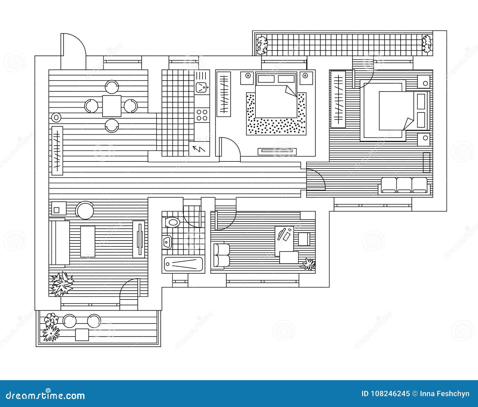 Piano Di Architettura Con Mobilia Nella Vista Superiore ...