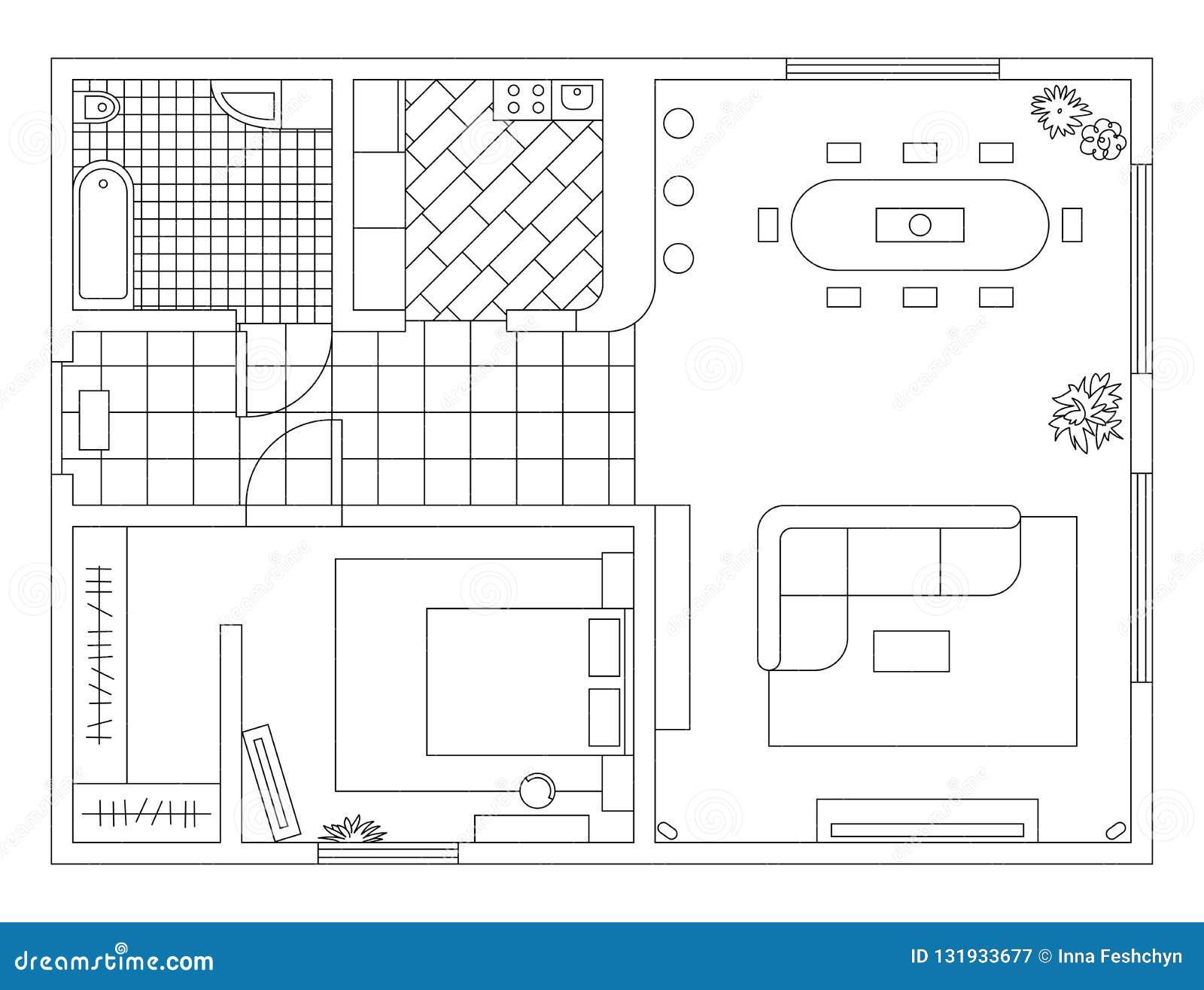 Piano di architettura con mobilia nella vista superiore Libro di coloritura
