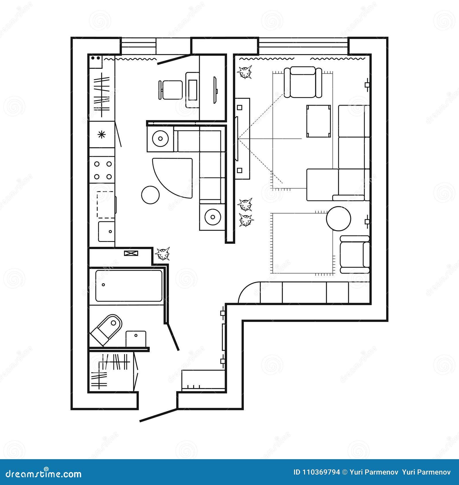 Piano di architettura con mobilia pianta della camera for Planner cucina