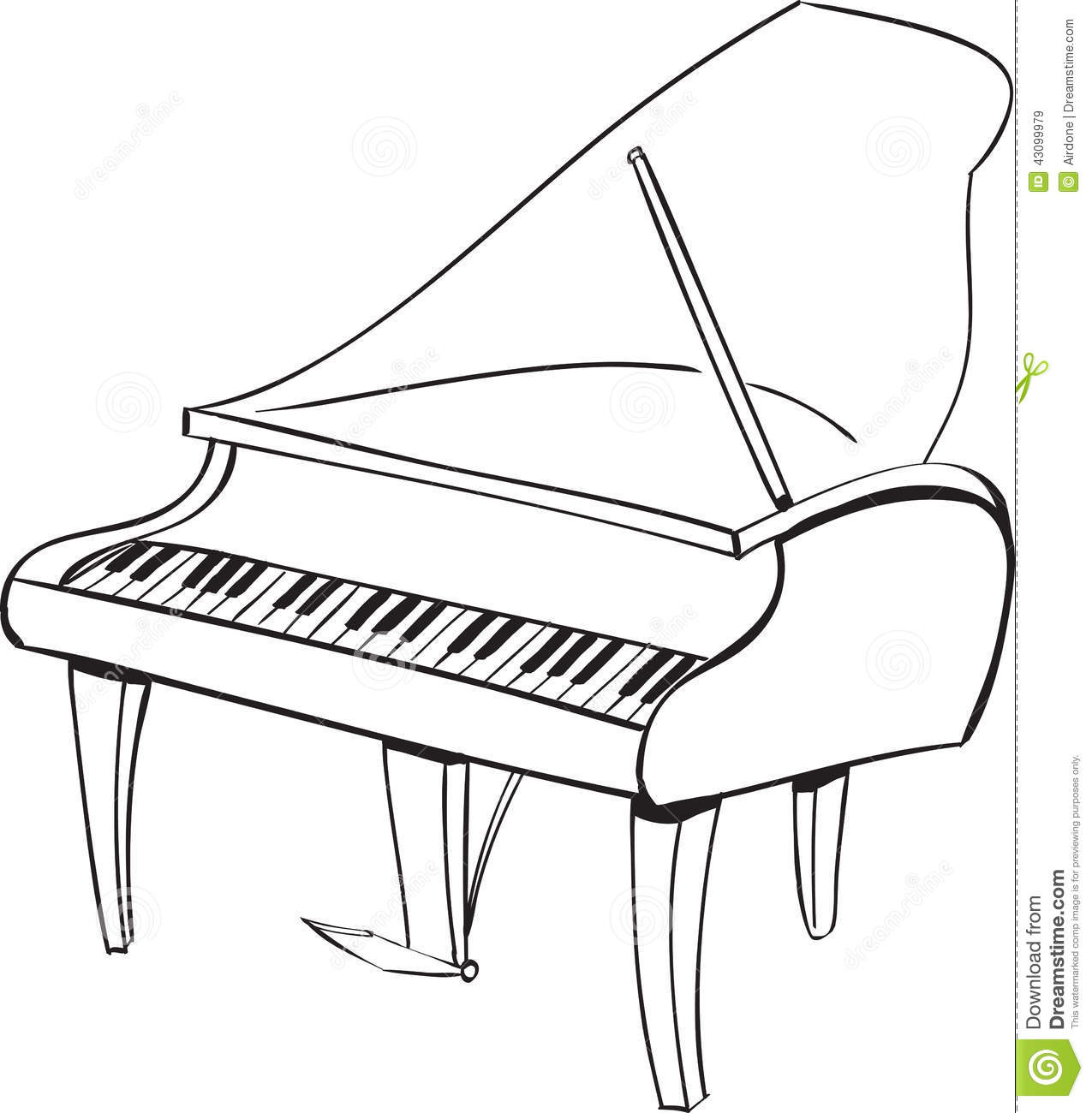 Piano Doodle stock vector  Illustration of hand, music
