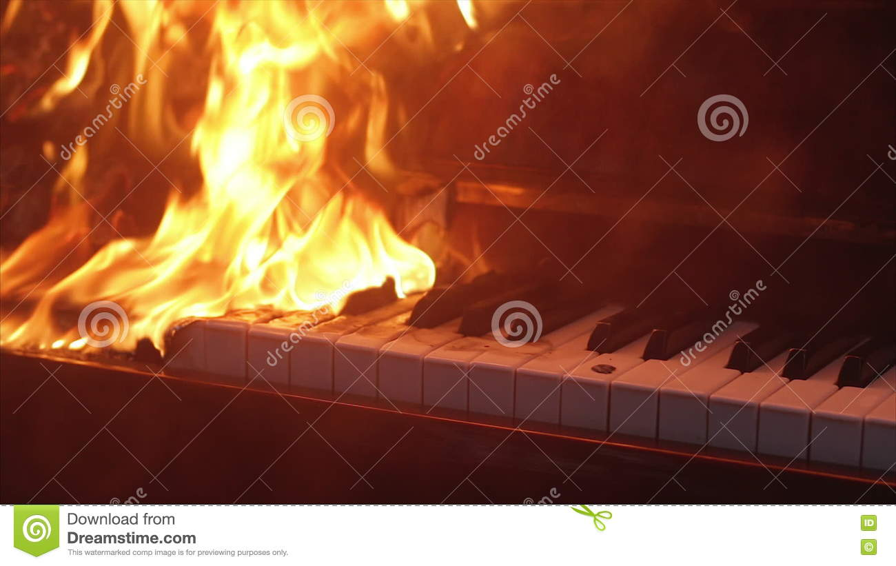 piano on fire musical instrument stock footage video 76094524