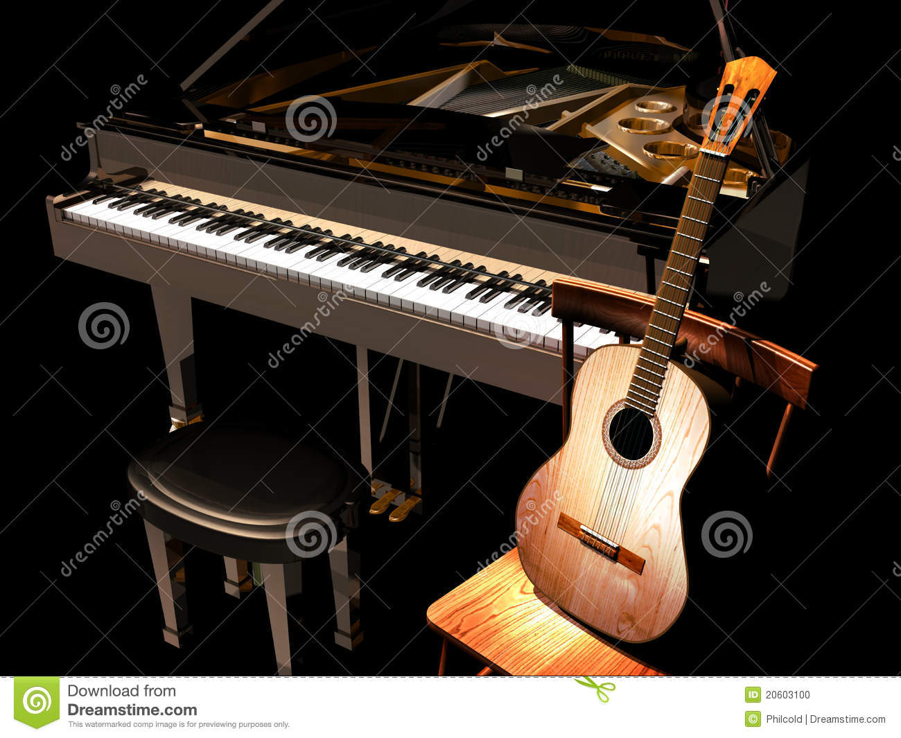 classic guitar on a wooden chair, close to a grand piano, on a dark ...