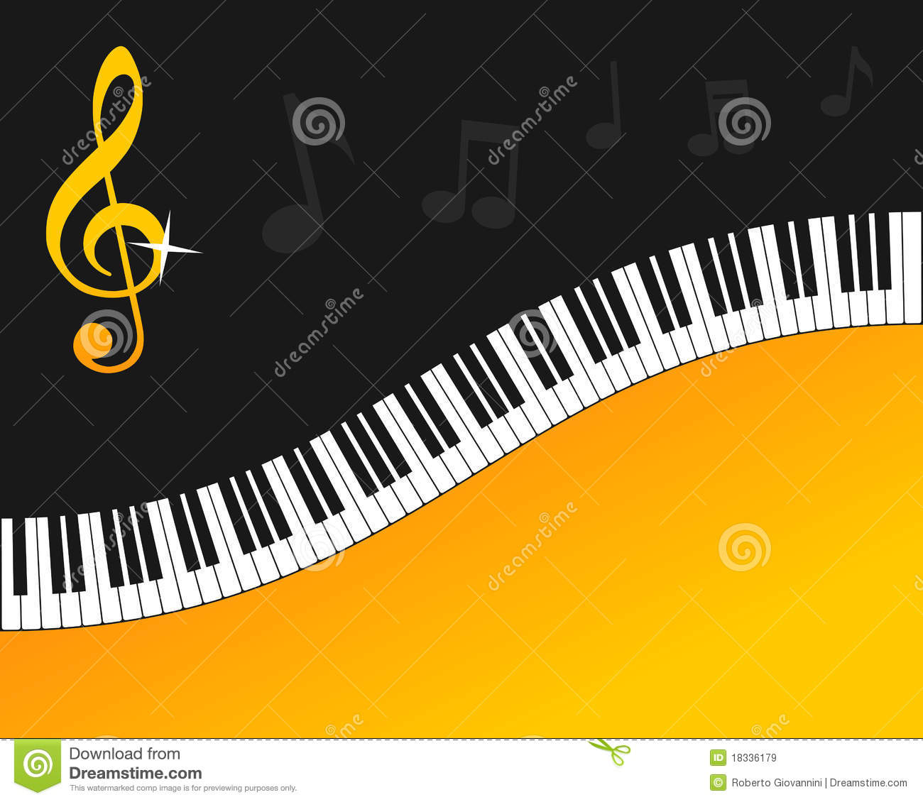 piano keyboard gold background stock vector image 18336179