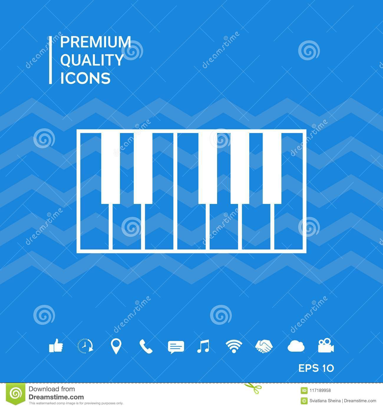 Piano Keyboard Icon Stock Vector Illustration Of Music 117189958