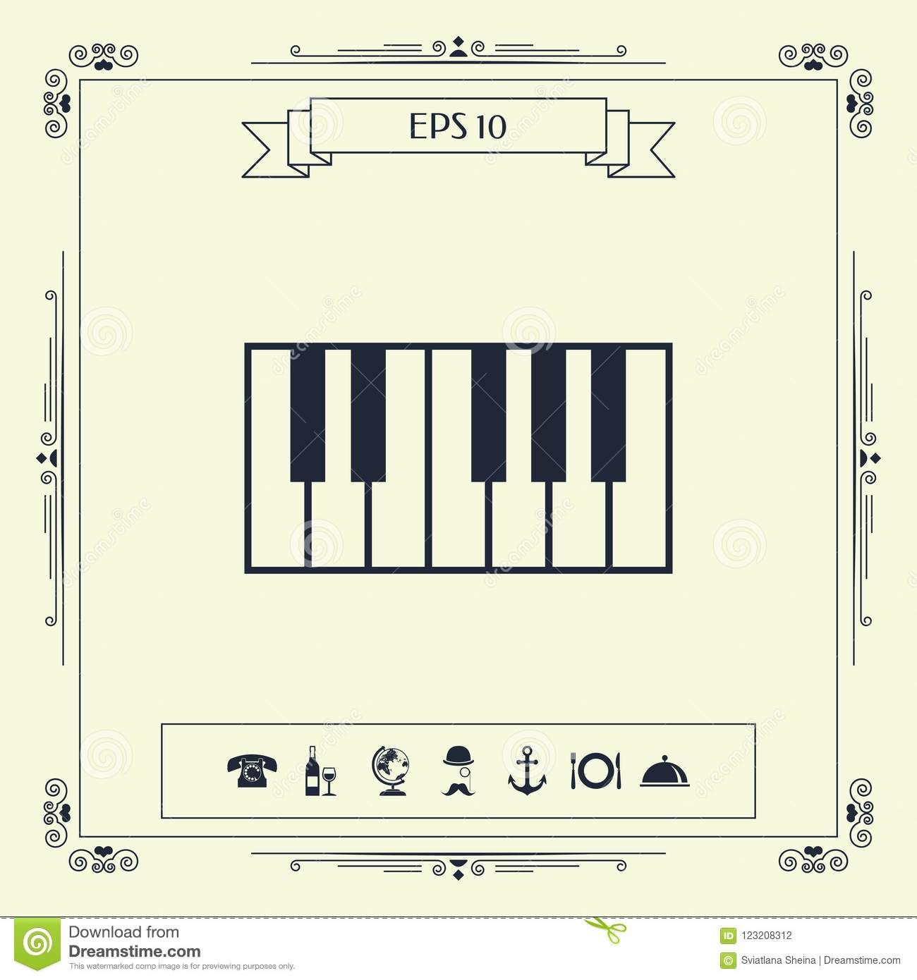 Piano Keyboard Icon Stock Vector Illustration Of Musical 123208312