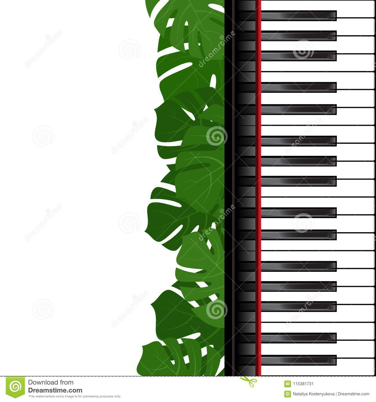 Piano Keyboard And Monstera Leaves Frame As Template For Card Vector Illustration