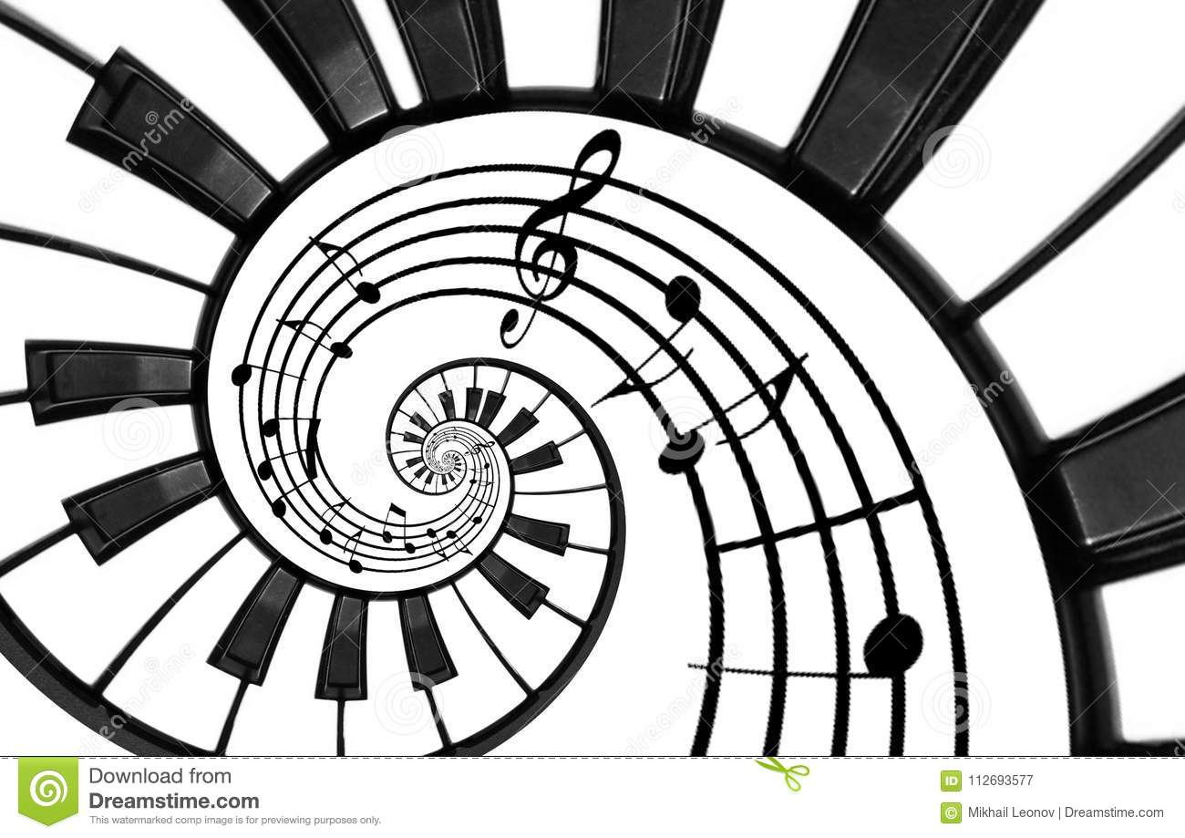 Piano keyboard printed music abstract fractal spiral pattern background. Black and white piano keys round spiral. Spiral stair. Pi