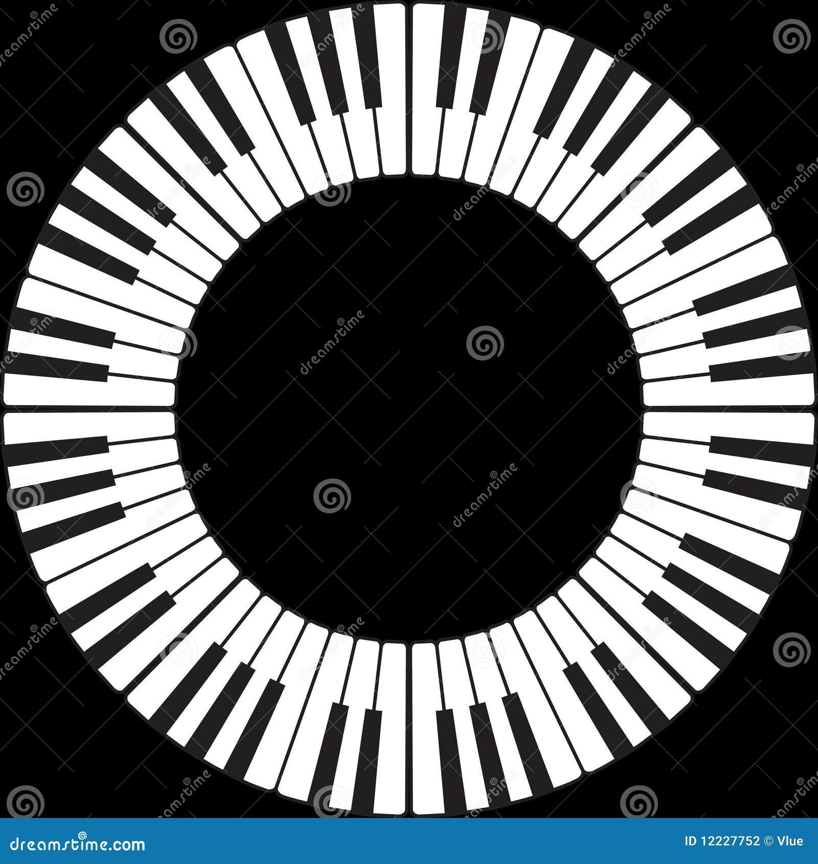 Piano keys in a circle