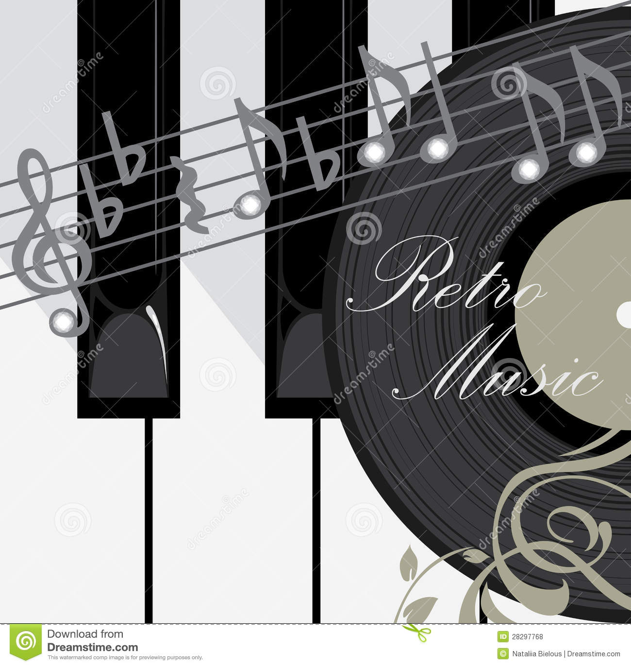 Piano Background Music: Piano Keys, Disc And Notes. Music Background Royalty Free
