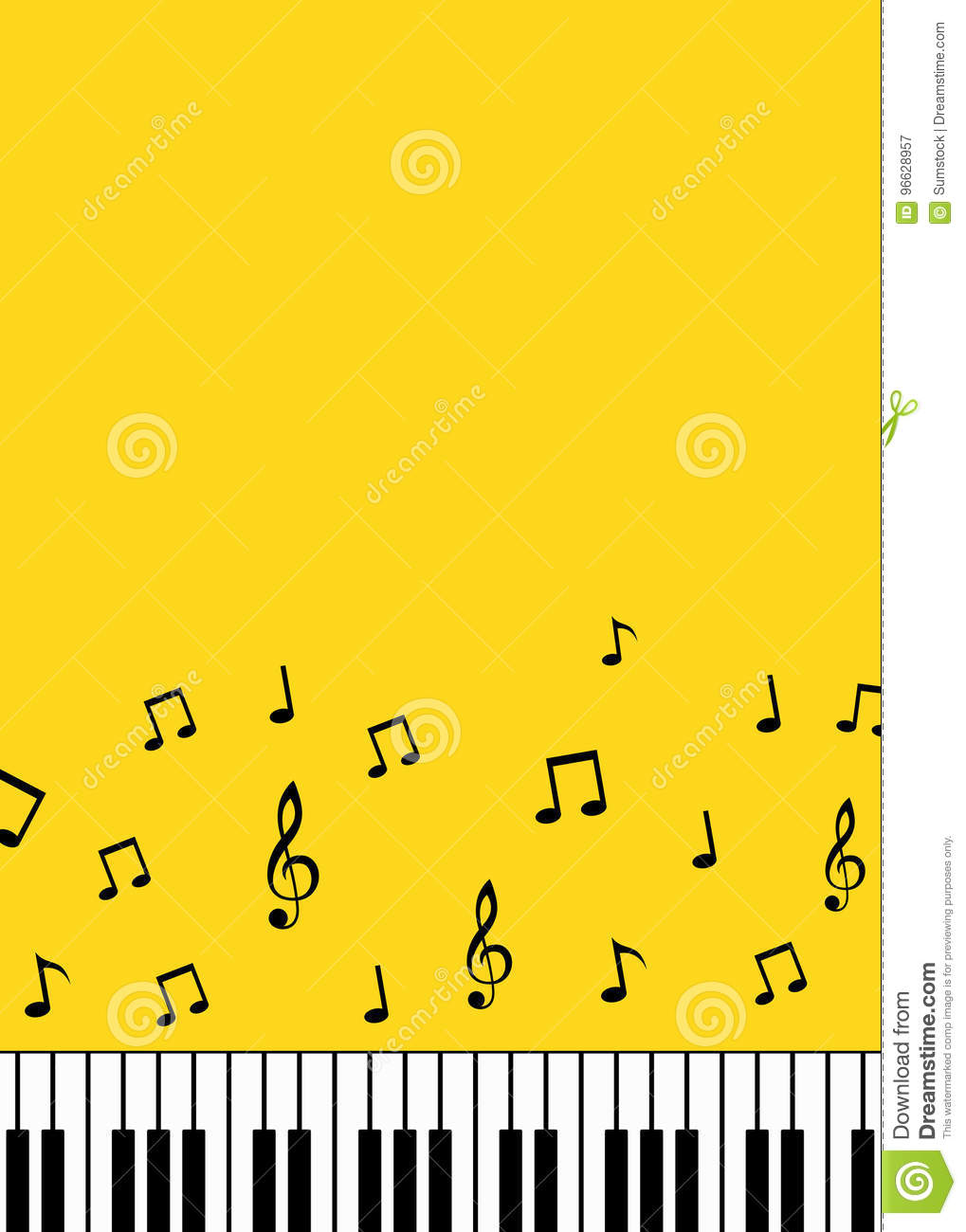 Piano keys and music notes minimalist background
