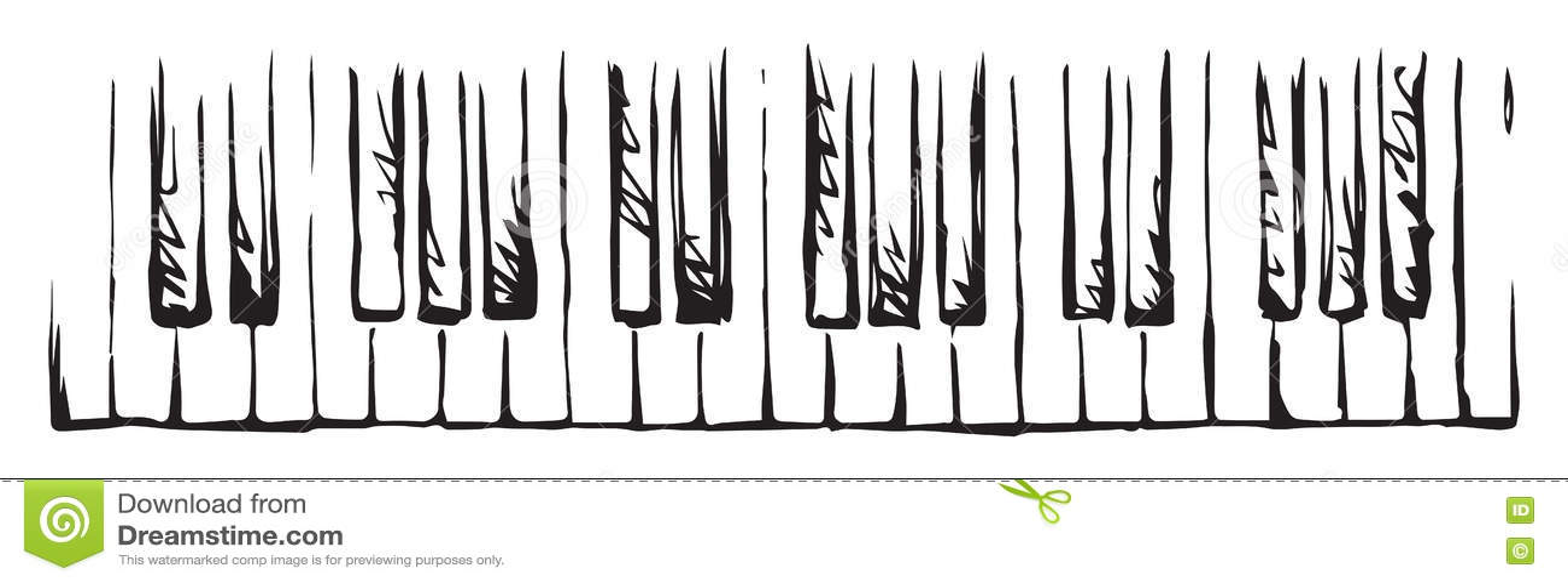 Piano Keys  Vector drawing stock vector  Illustration of horizontal