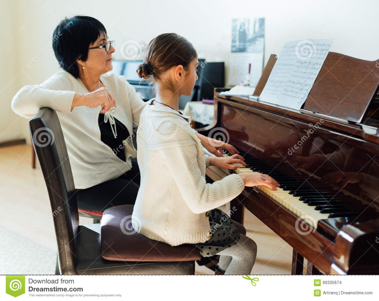 Piano lessons at music school