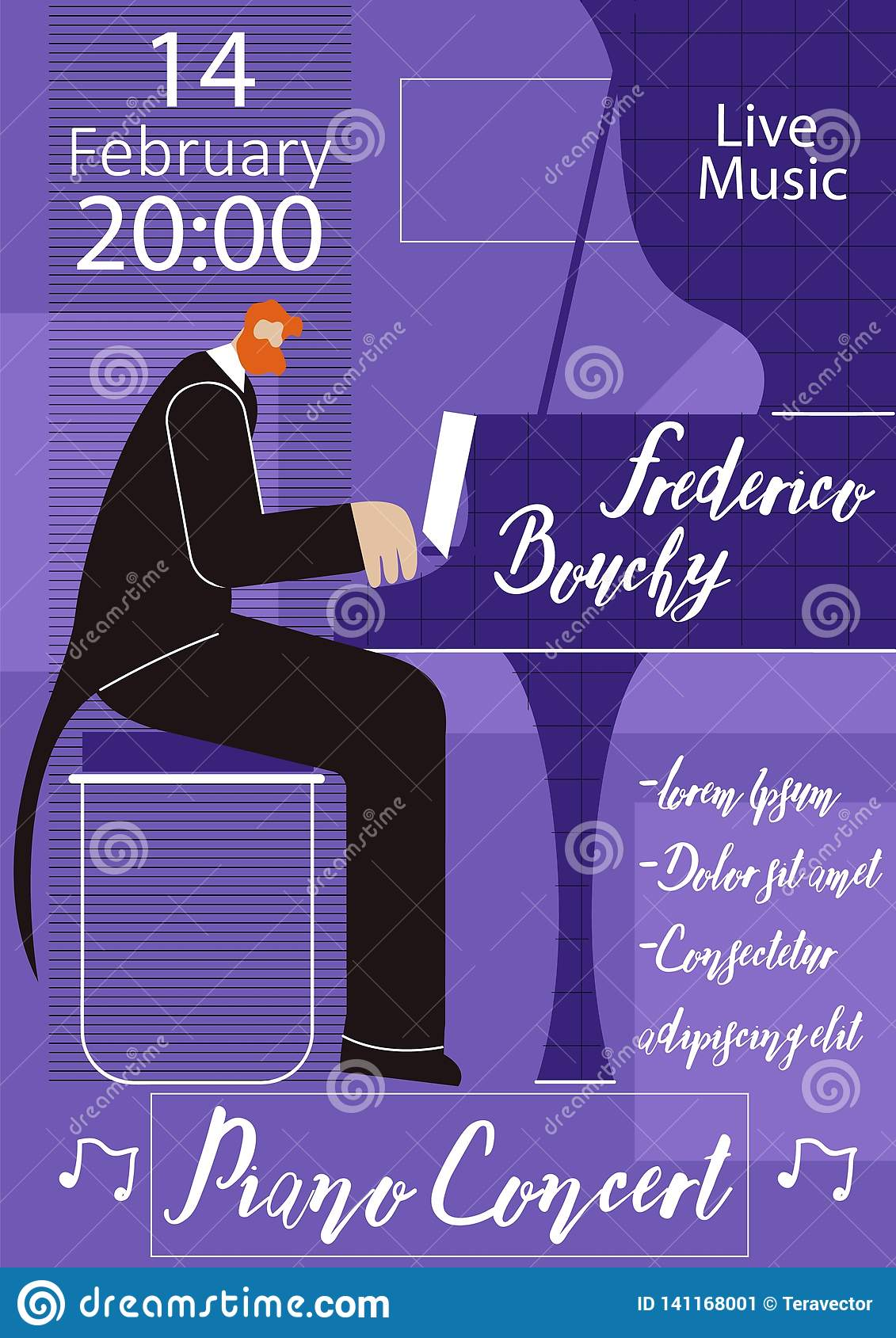 Piano Live Concert Flat Vector Poster Template Stock ...