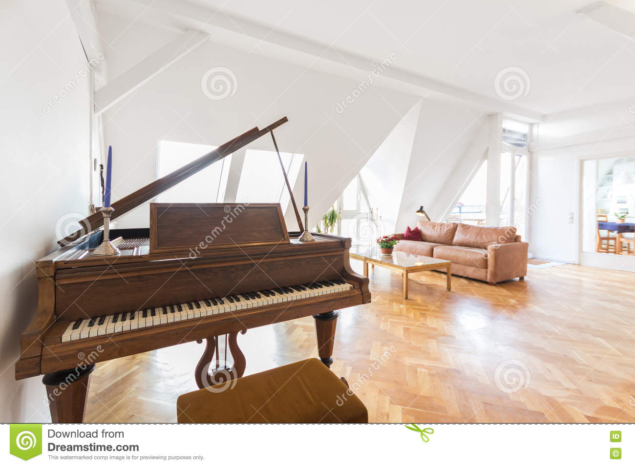 Piano In Living Room , Beautiful Apartment Home Stock Image - Image ...