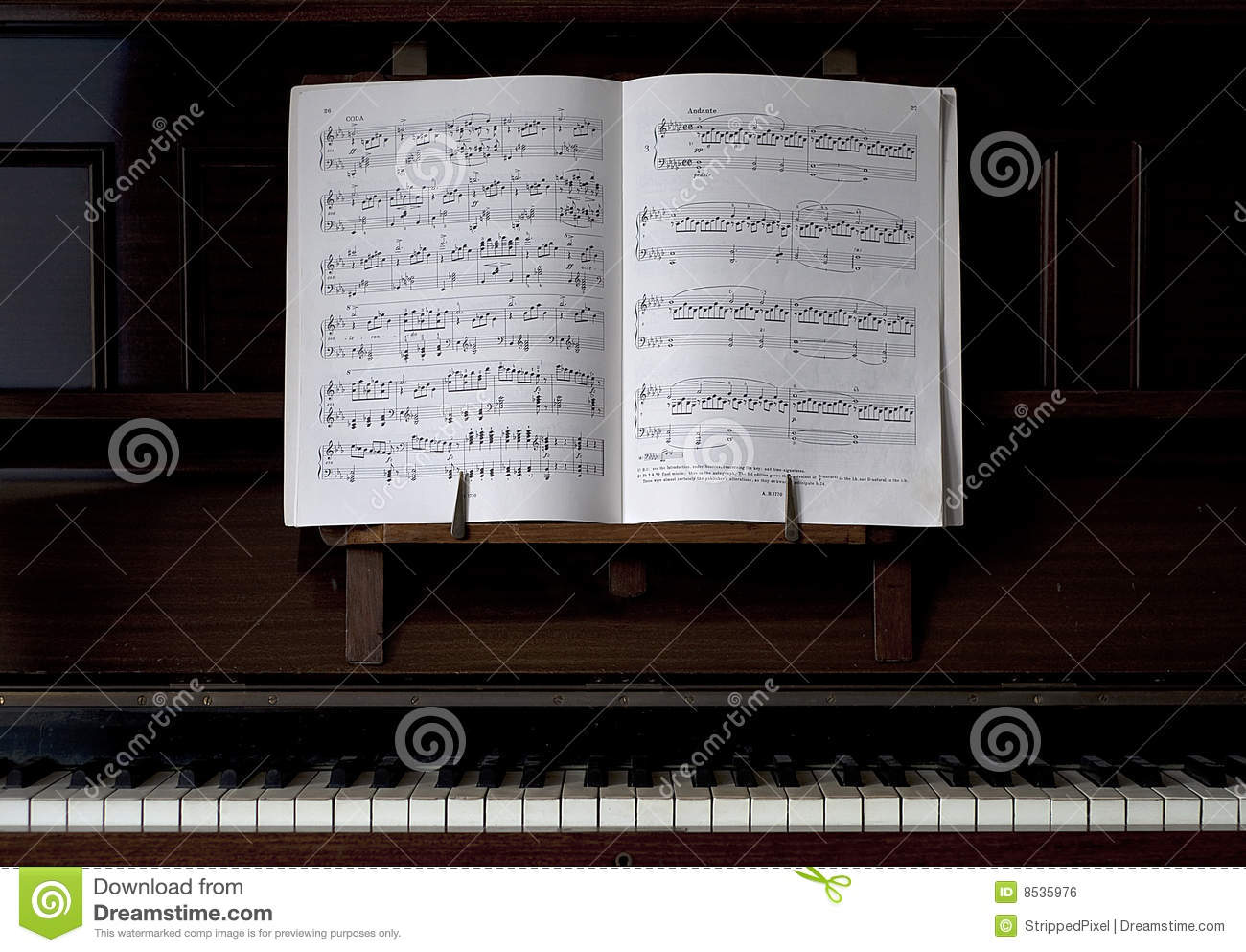Piano And Open Sheet Music Stock Photo Image Of Upright