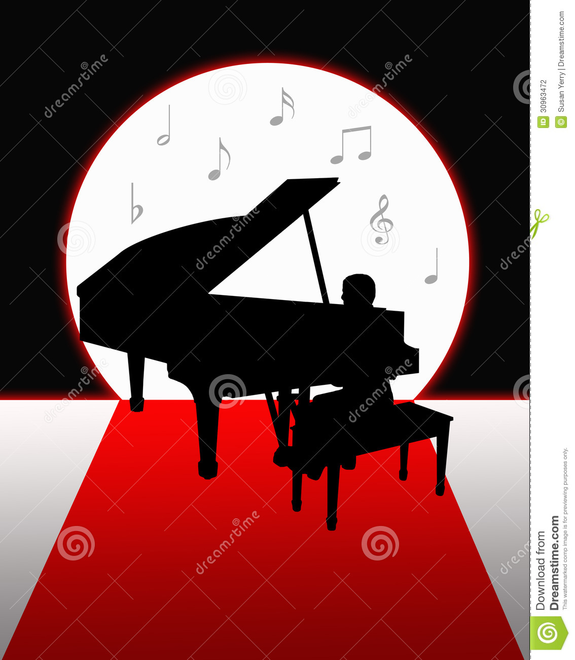 Silhouette of a man playing a grand piano in the moonlight with    Playing Piano Silhouette