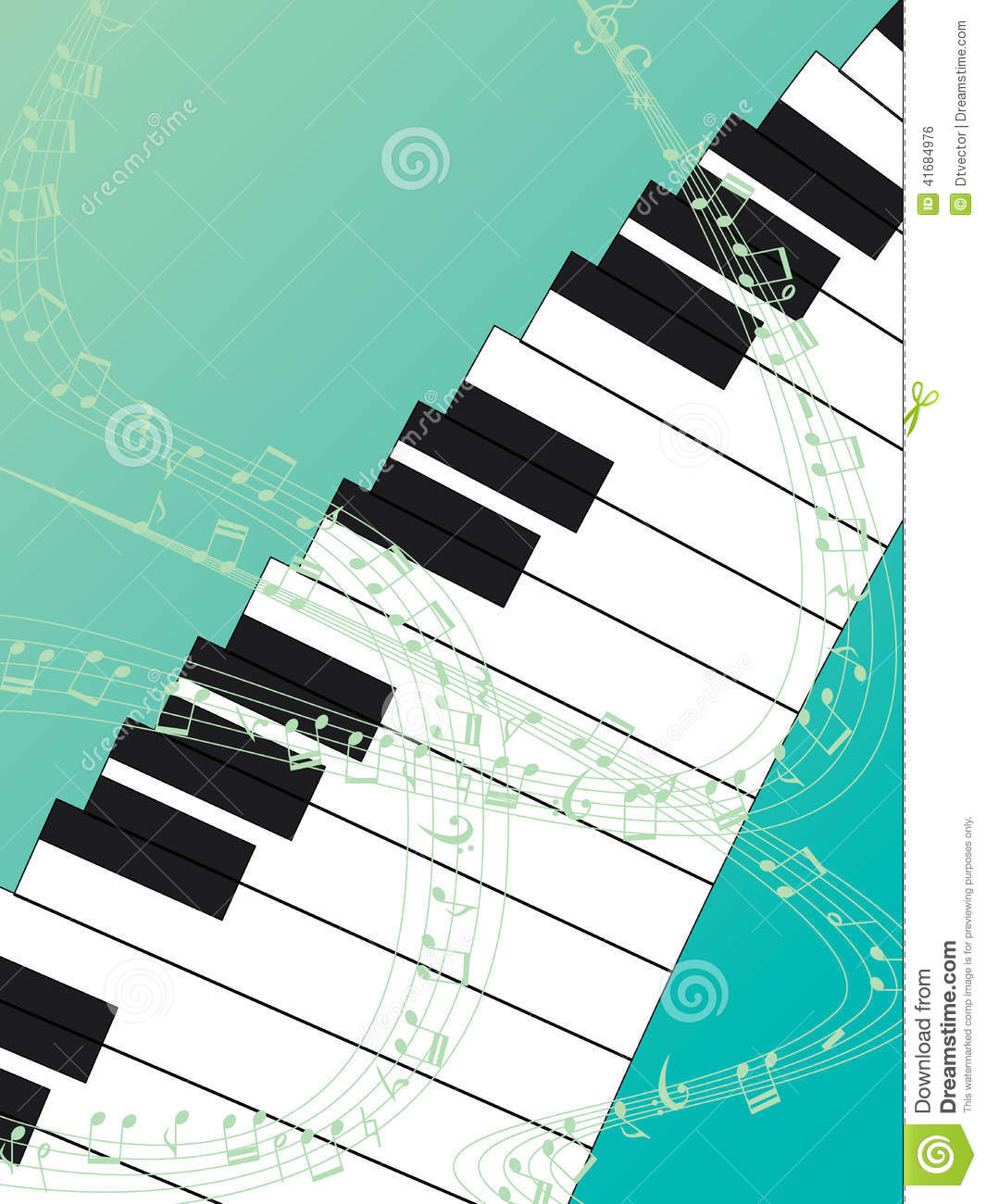 Piano Background Music: Piano Top Green Background Stock Vector. Illustration Of