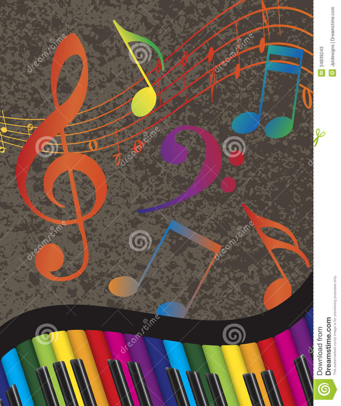Piano Wavy Border With Colorful Keys And Music Not Stock ... Rainbow Music Notes Border