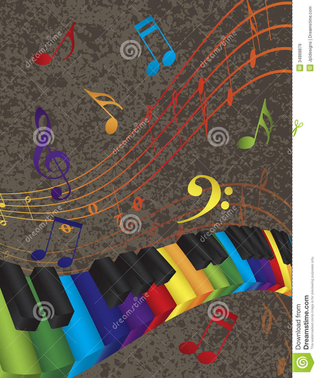 Piano Wavy Border With 3D Colorful Keys And Music