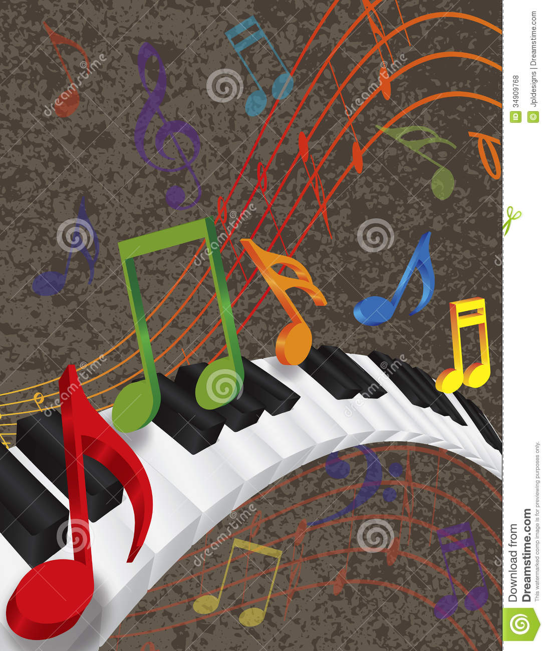 Piano Wavy Border With 3D Keys And Colorful Music Royalty ... Rainbow Music Notes Border