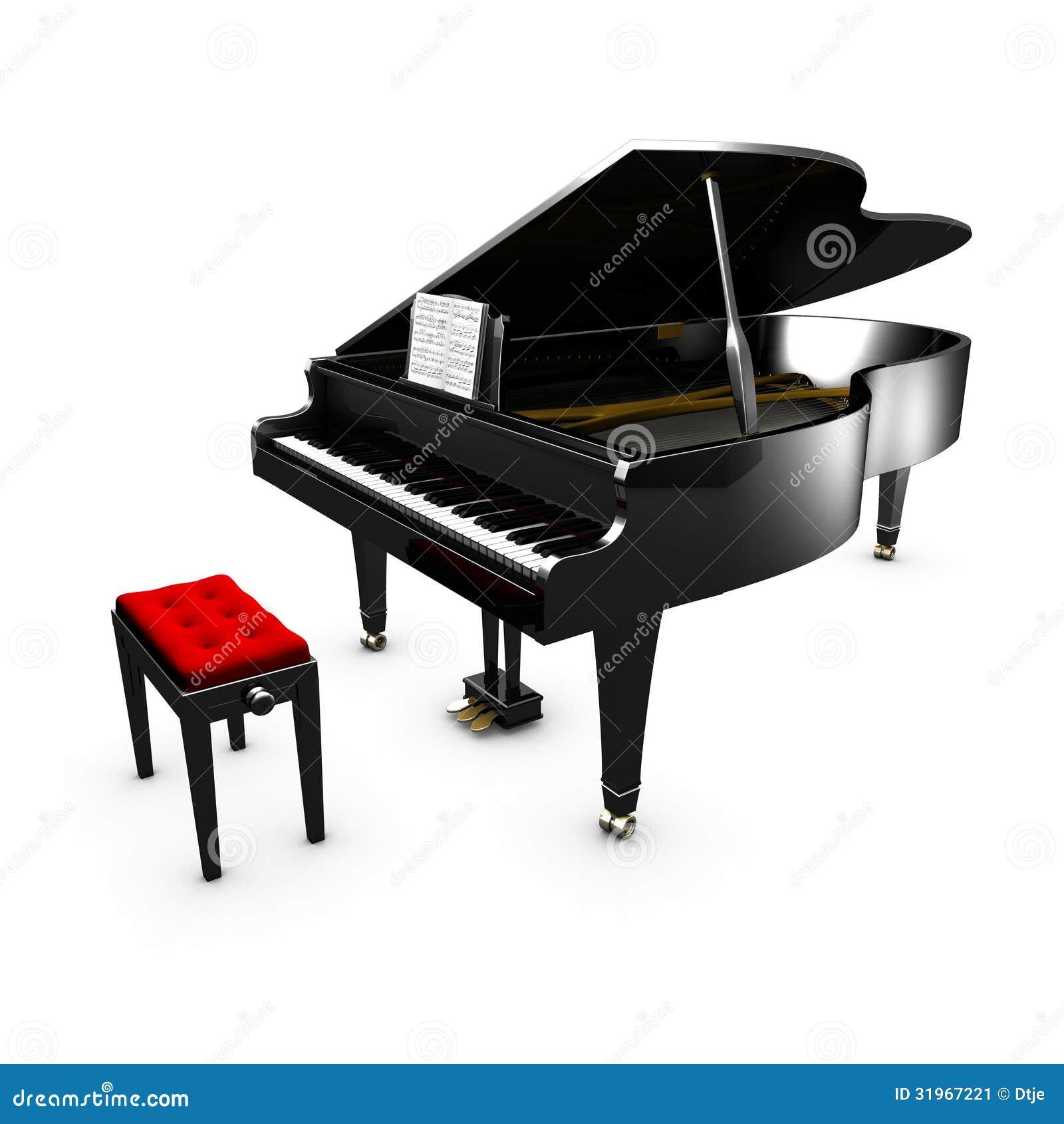 Pianoforte A Coda Aperto 3D E La Sua Sedia Immagine Stock - Immagine ...