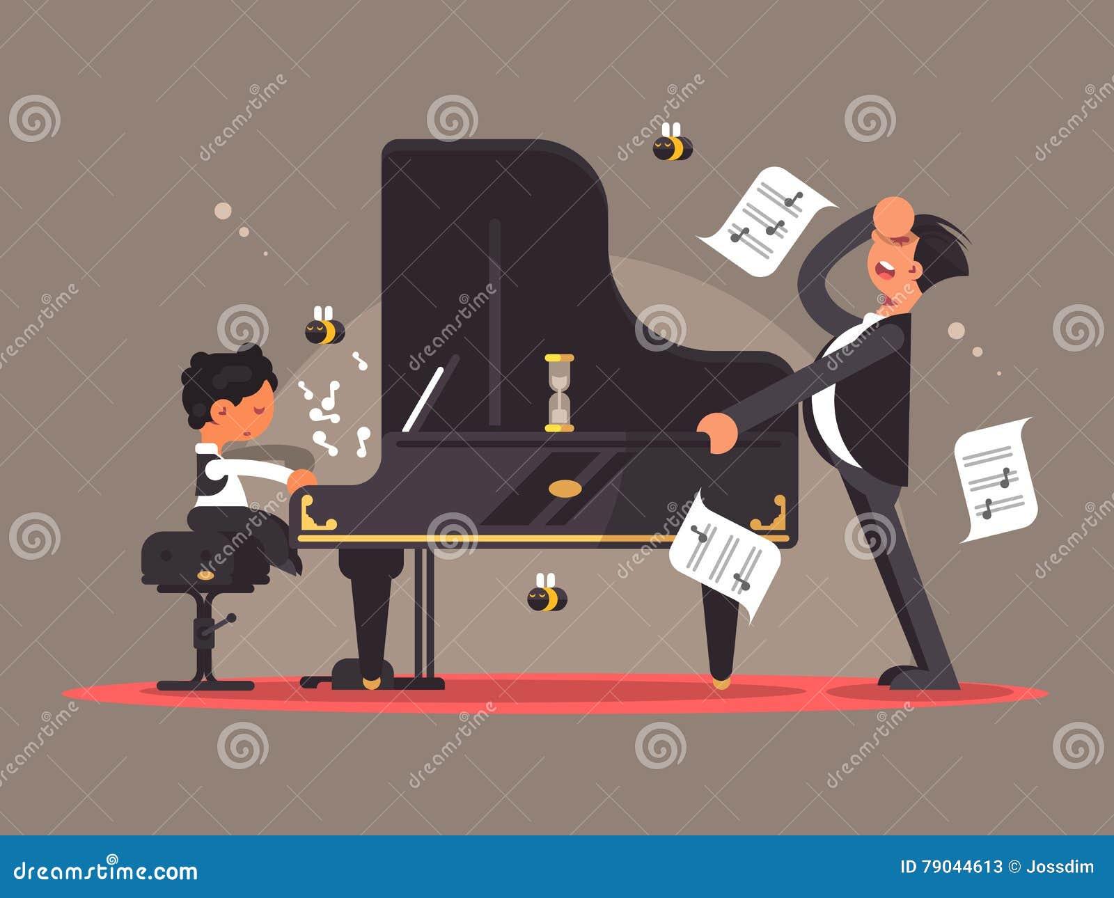 Pianot handleder undervisar pojken