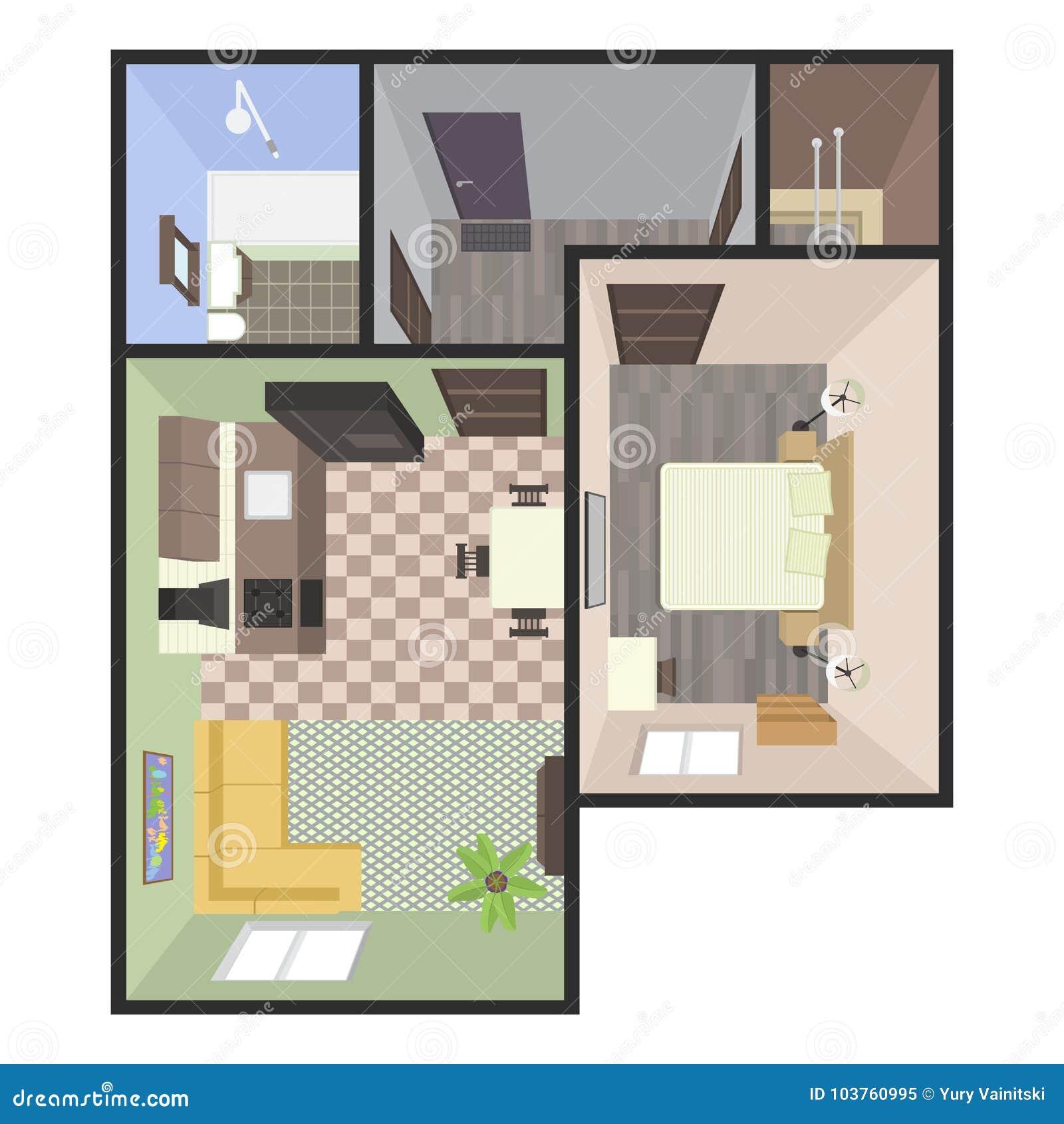 Pianta Architettonica Di Colore Appartamento Delle Camere Da Letto ...