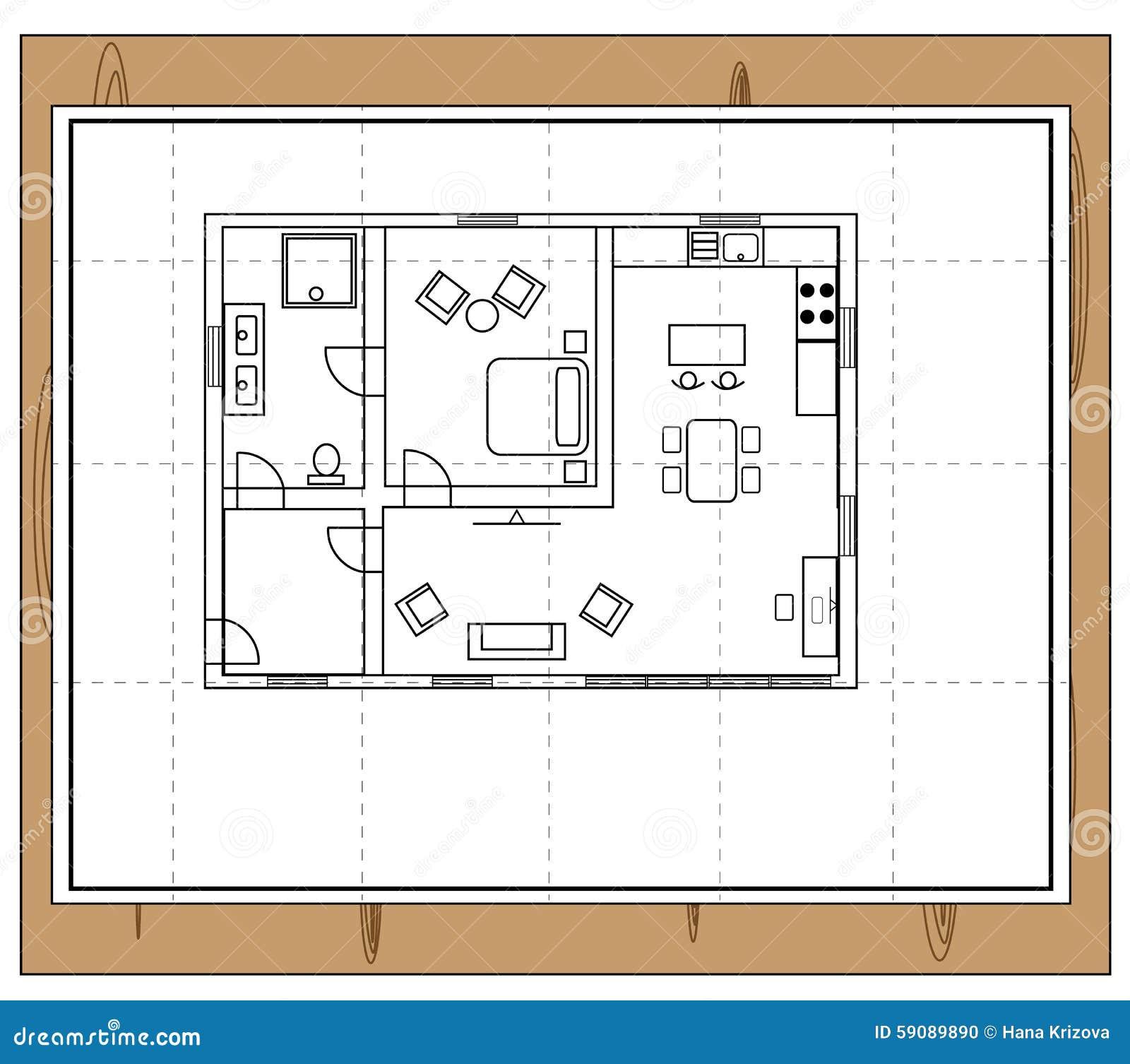 Pianta della casa illustrazione vettoriale immagine - Disegno pianta casa ...
