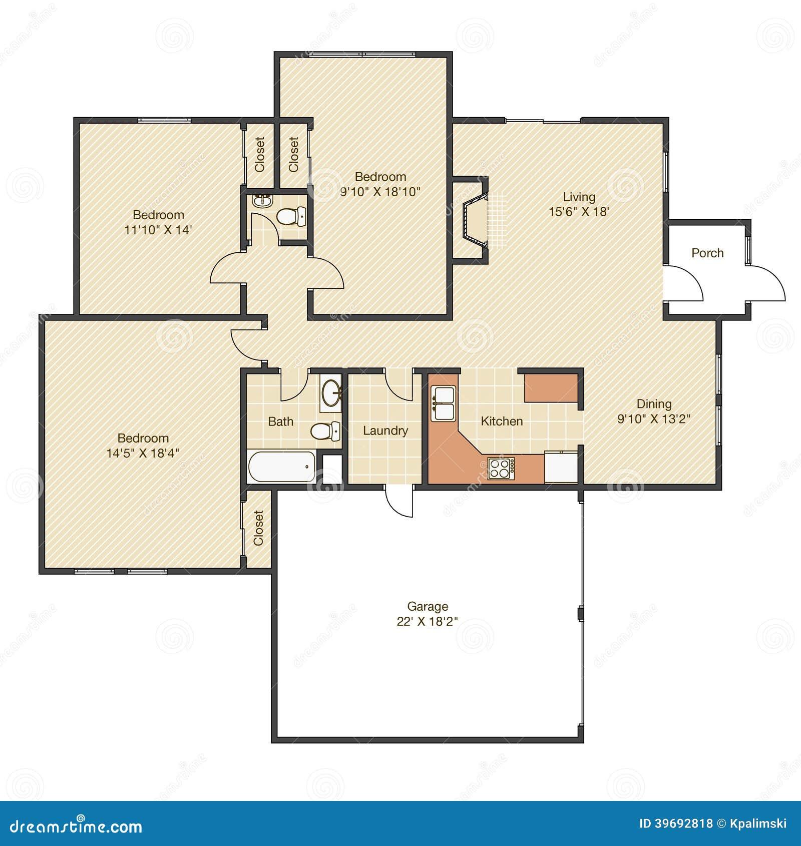 Pianta della casa con le misure illustrazione di stock for Planimetrie della casa senza garage
