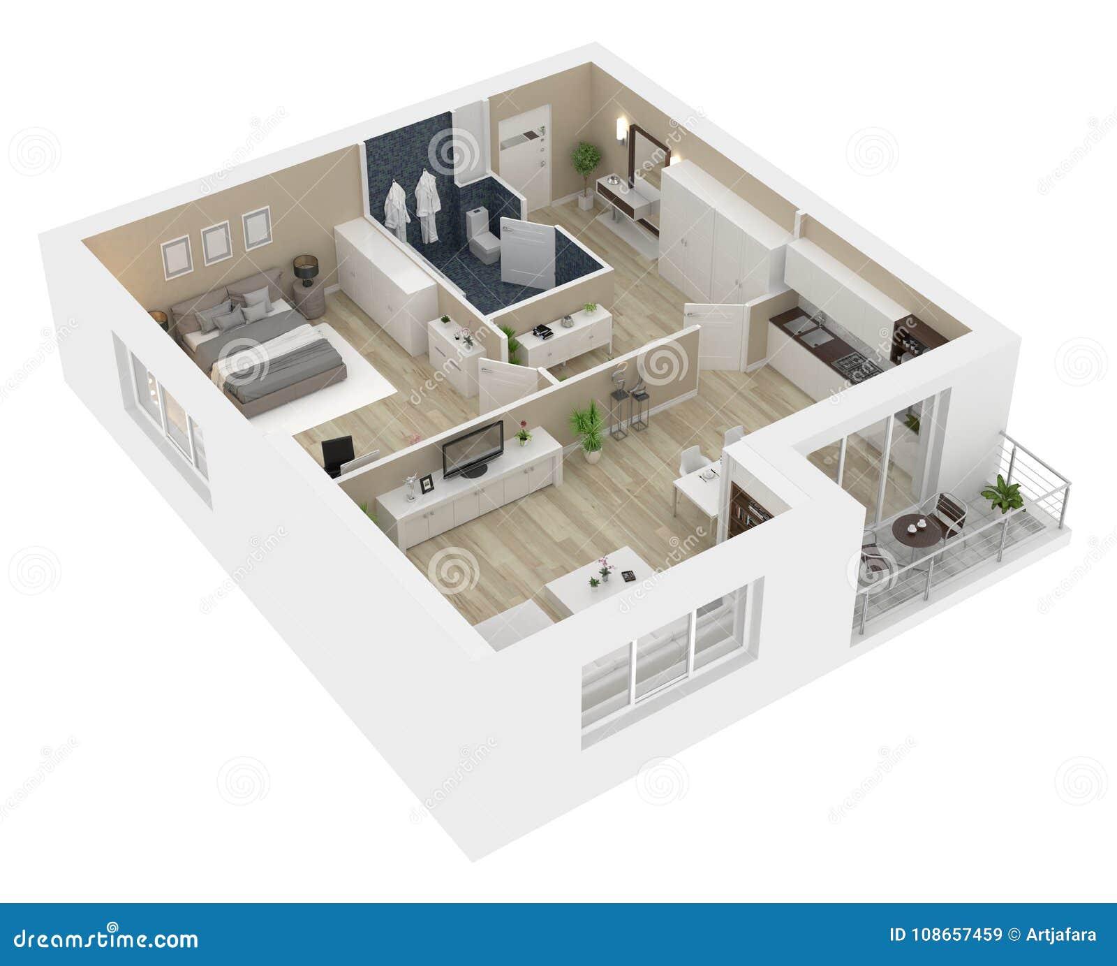 Piante Da Appartamento 3d.Pianta Di Un Illustrazione Di Vista 3d Della Casa Illustrazione Di