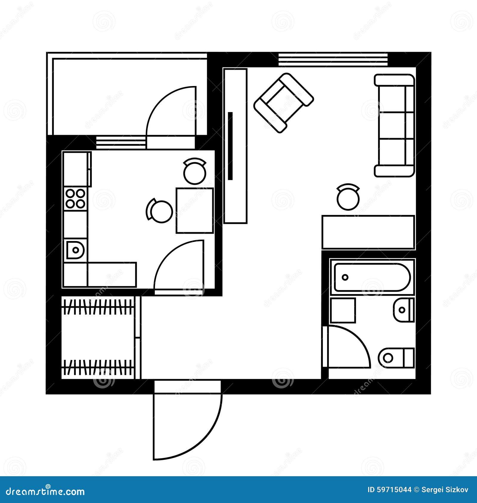 Pianta di una camera con mobilia vettore illustrazione for Mobilia download