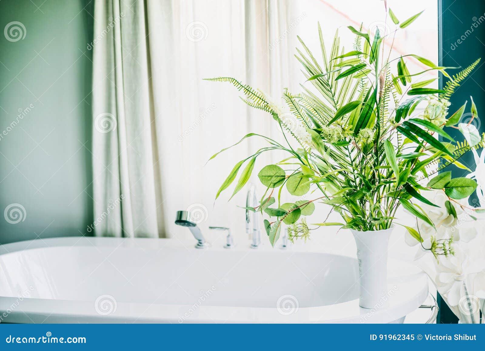 Piante D\'appartamento Verdi In Vaso In Bagno, Interno Della Casa ...