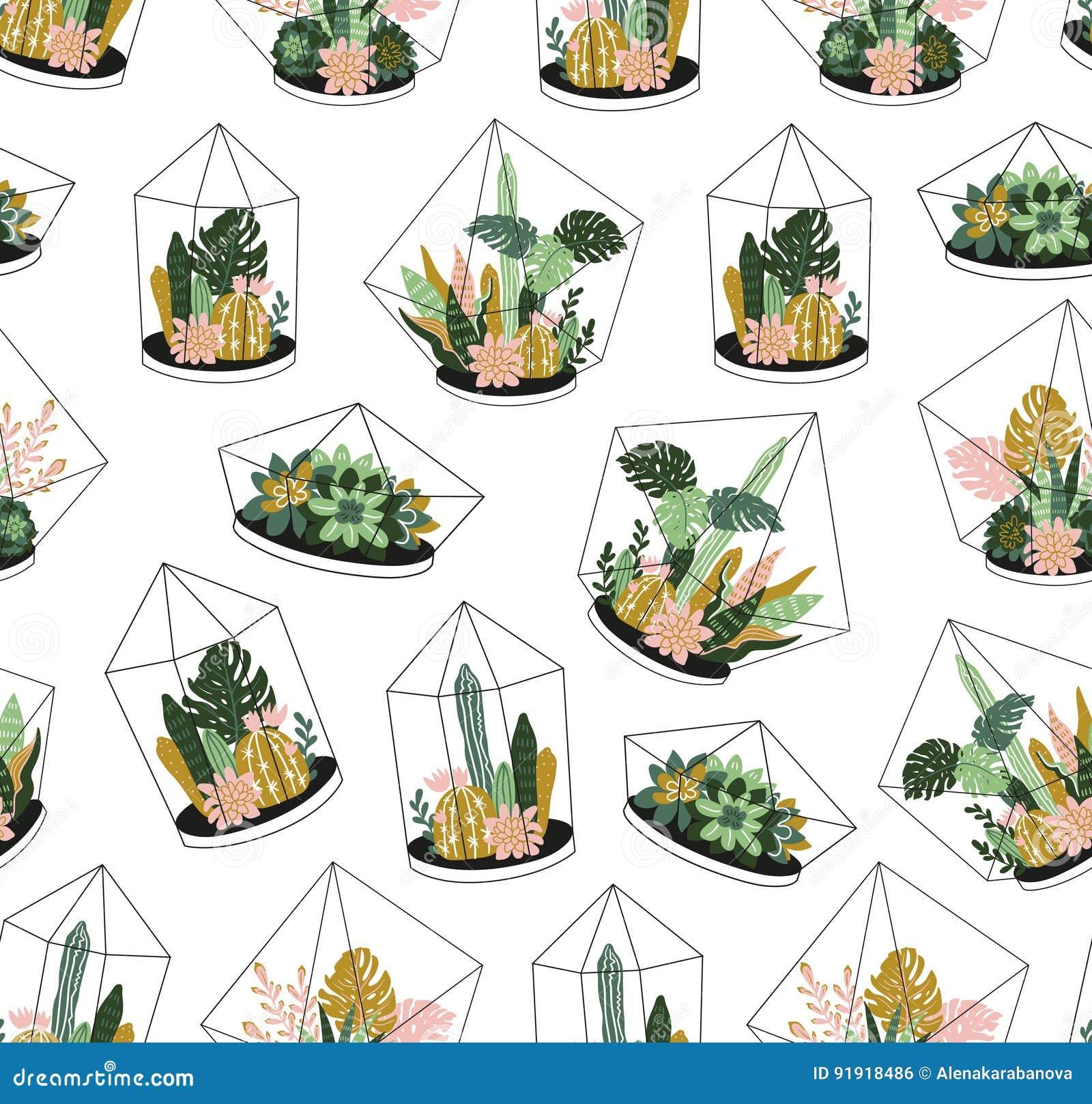 Piante tropicali contenute disegnate a mano della casa Modello senza cuciture di vettore scandinavo di stile
