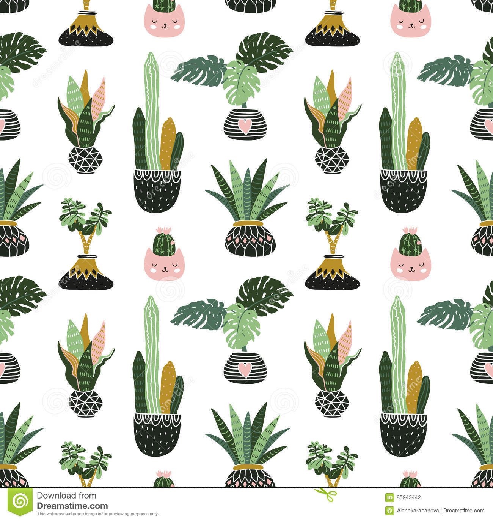 Piante tropicali disegnate a mano della casa L illustrazione scandinava di stile, vector il modello senza cuciture per tessuto, w