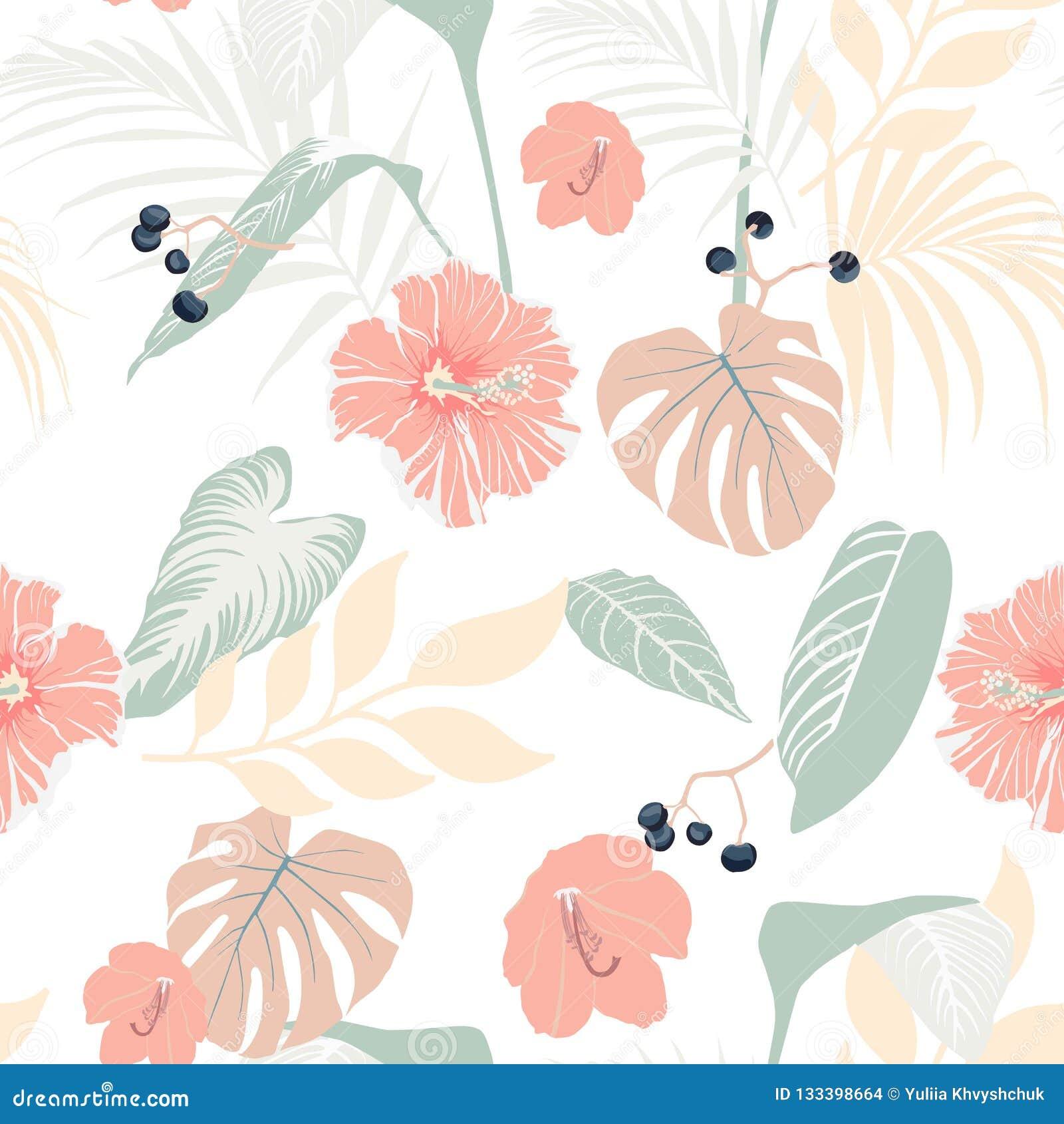 Piante tropicali ed ibisco pastello Modello tropicale senza cuciture, fondo