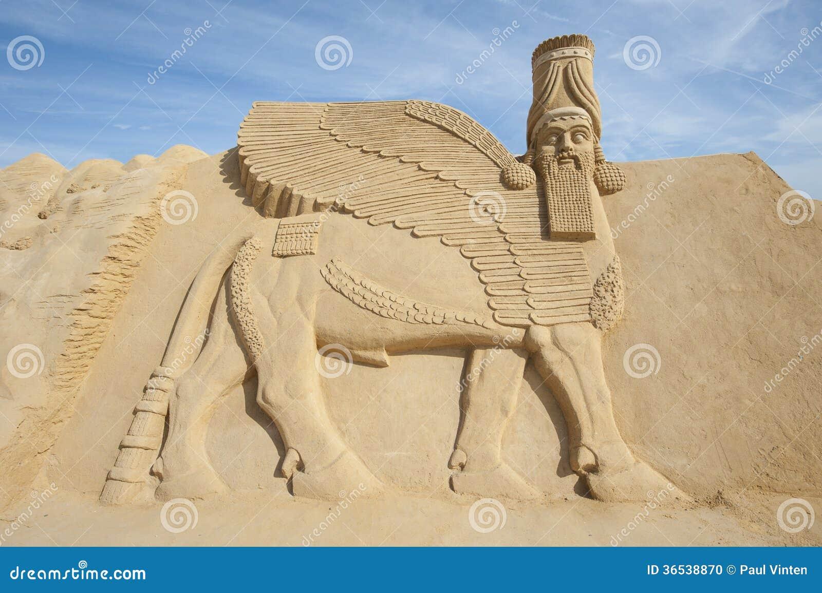 Piasek rzeźba Lamassu bóstwo