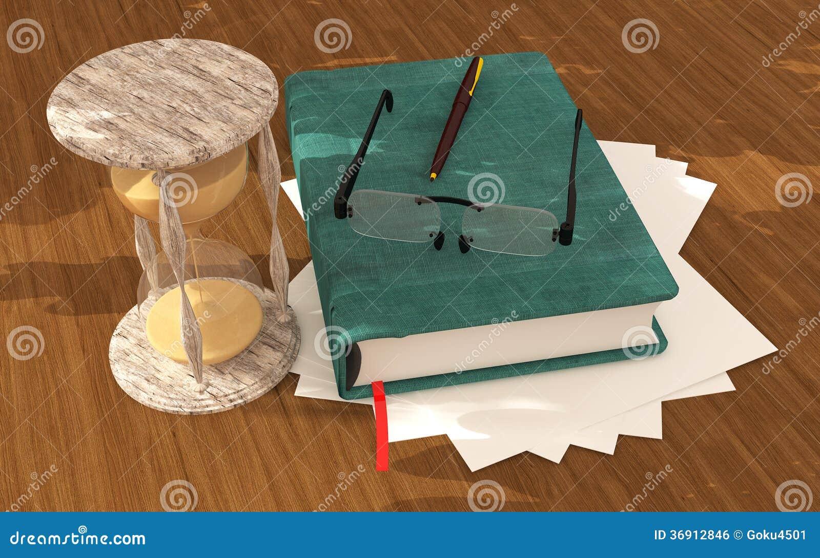 Piaska zegaru książka na podłoga