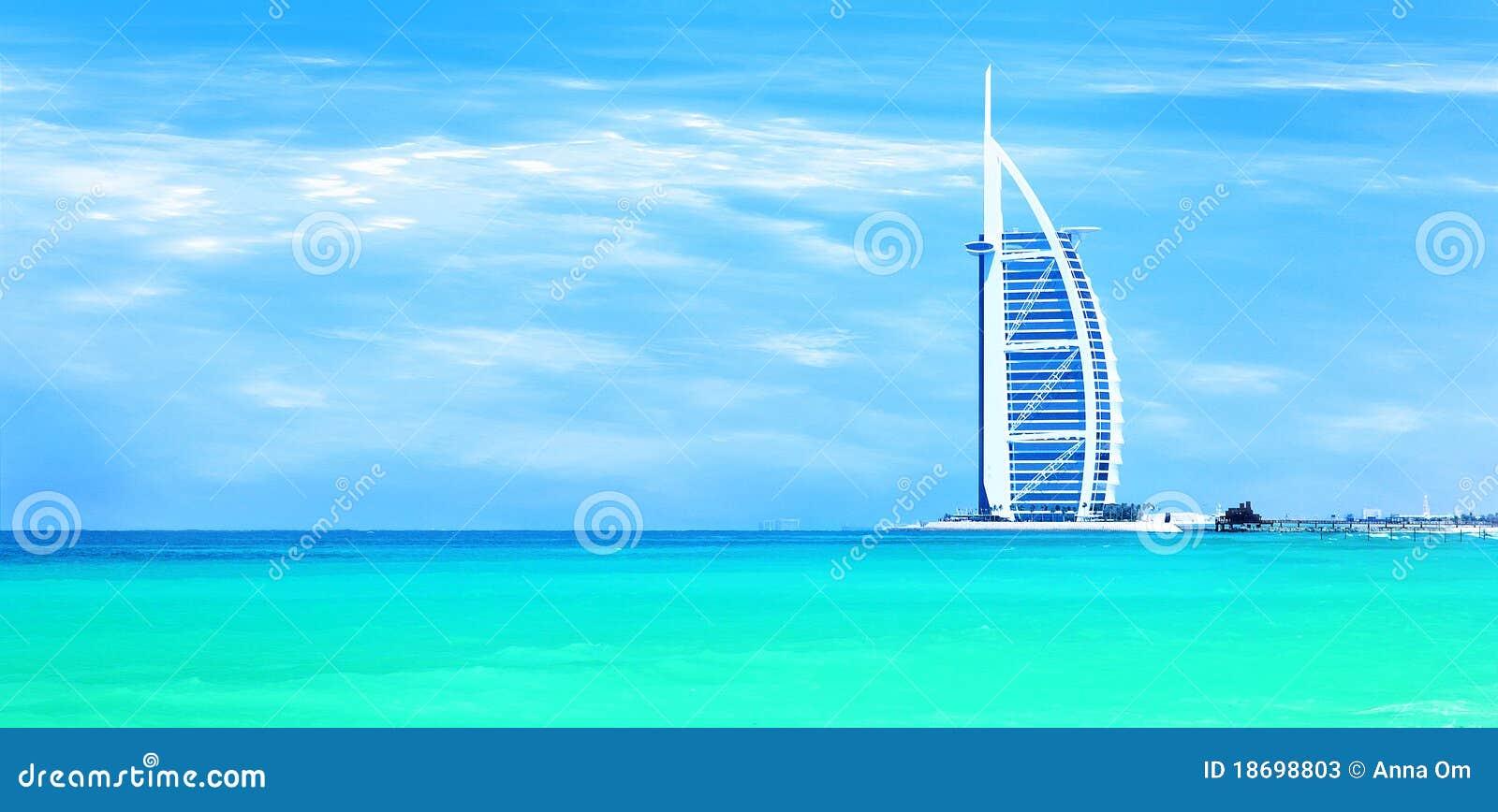 Piaskowaty sławny Dubai plażowy punkt zwrotny