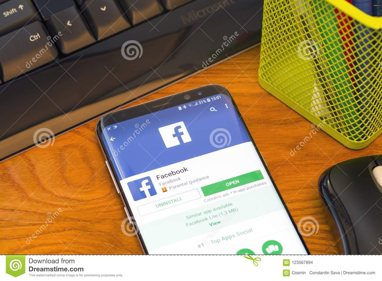 Facebook Application In Google Play Editorial Stock Image