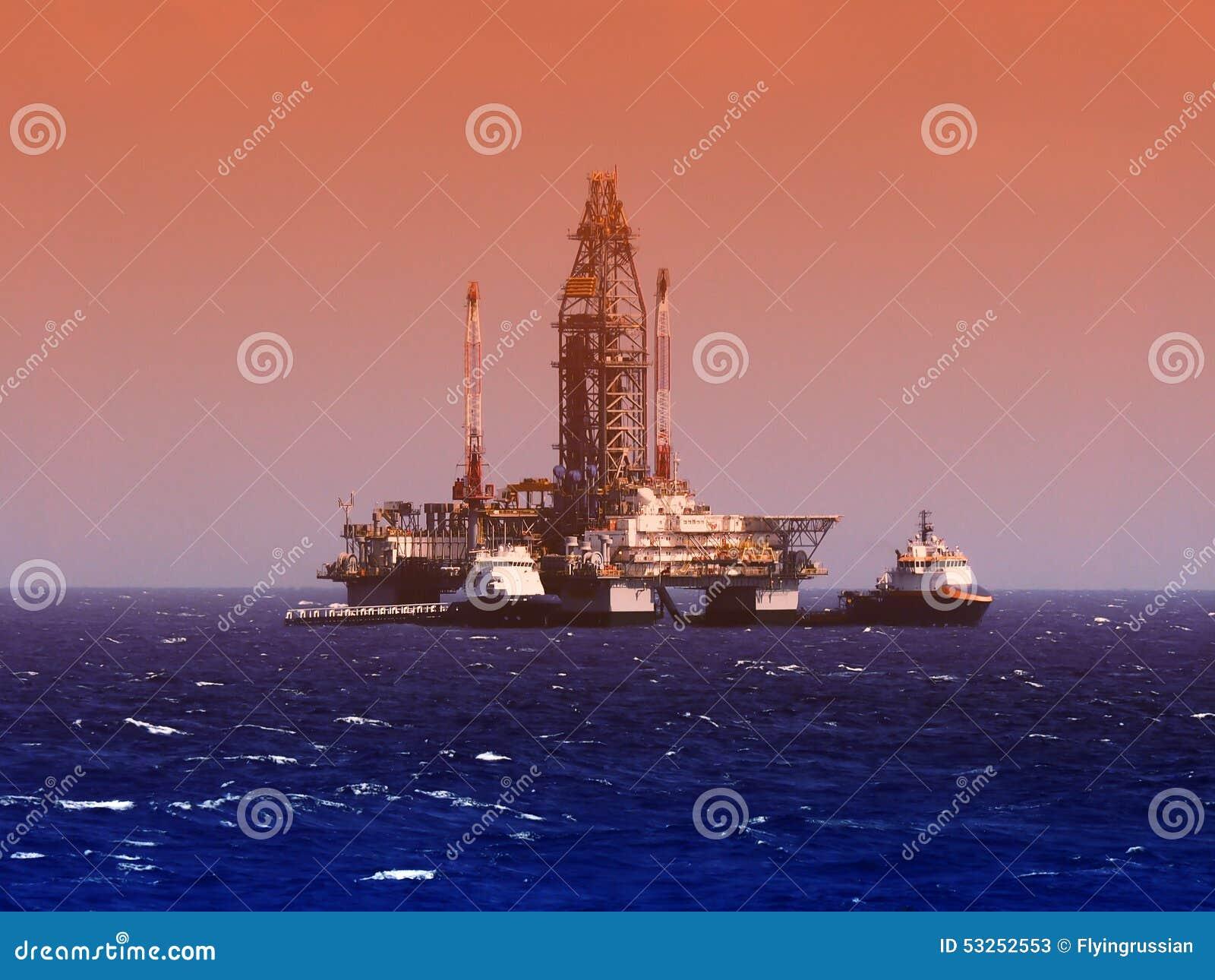 Piattaforma di perforazione del gas e del petrolio marino o impianto di perforazione, golfo del Messico