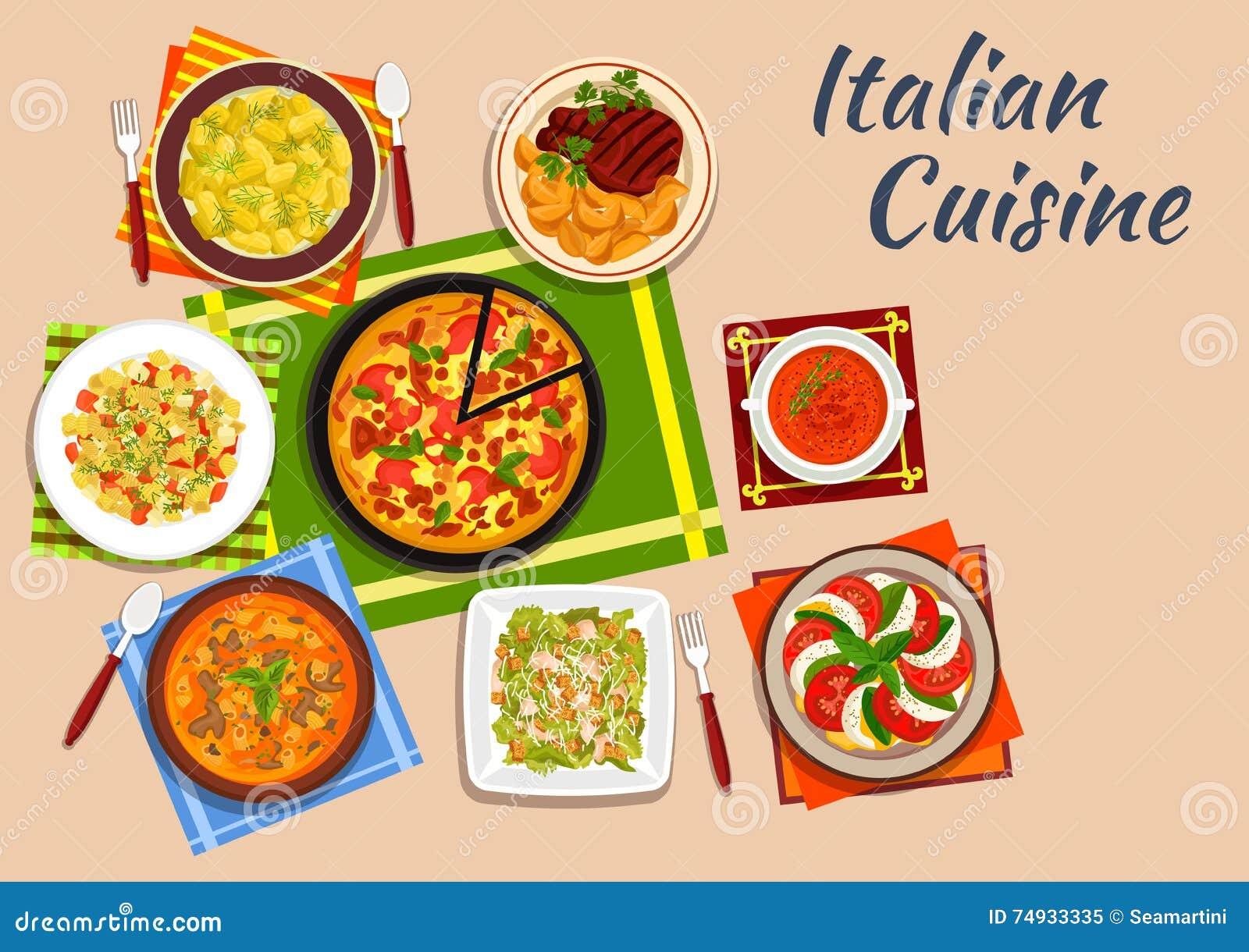Piatti Italiani Nazionali Del Menu Di Cucina Illustrazione