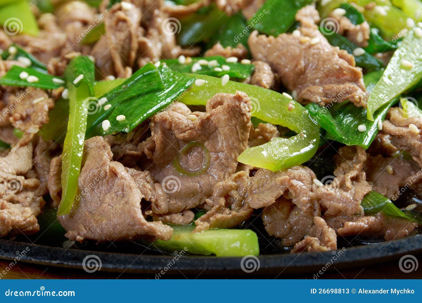 Piatto cinese manzo con il primo piano delle verdure for Piatto cinese